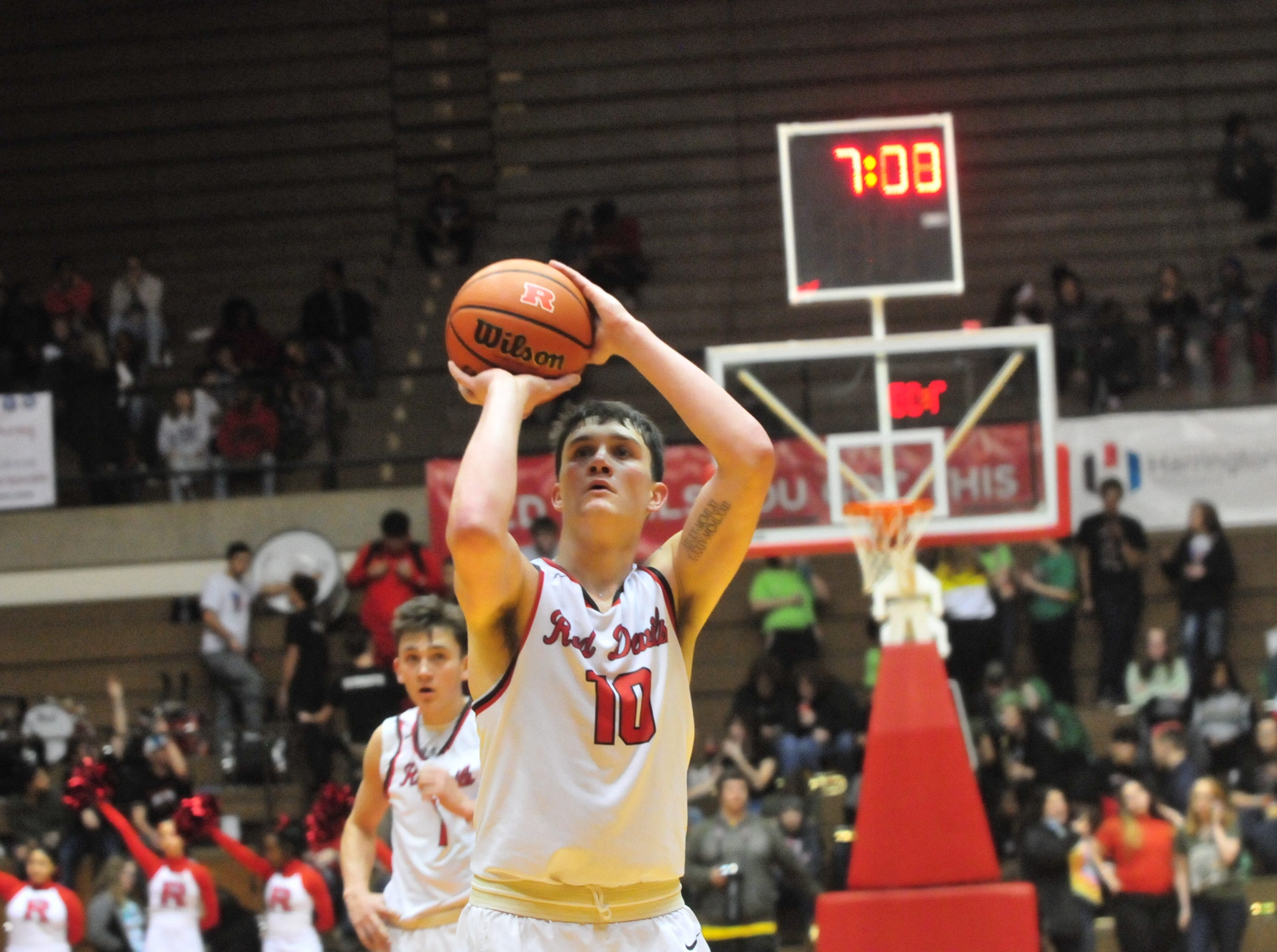 Richmond High School senior Lucas Kroft (10) shoots a free throw during Richmond's 73-48 boys basketball loss to New Castle Friday, Jan. 4, 2019 at Tiernan Center.