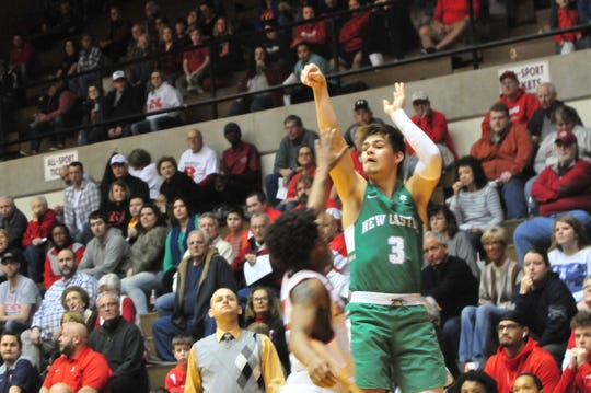 New Castle senior Luke Bumbalough shoots a 3-pointer during a boys basketball game against Richmond at Tiernan Center Friday, Jan. 4, 2019.
