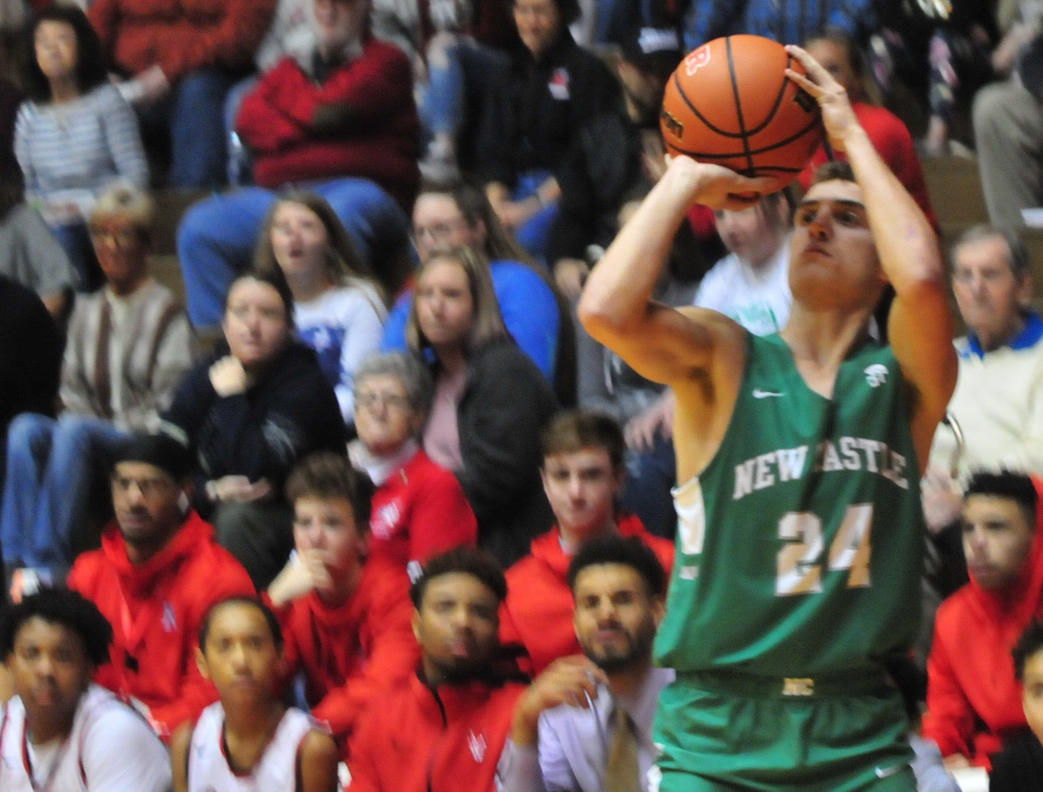 New Castle senior Nicholas Grieser shoots a 3-pointer during a boys basketball game against Richmond at Tiernan Center Friday, Jan. 4, 2019.