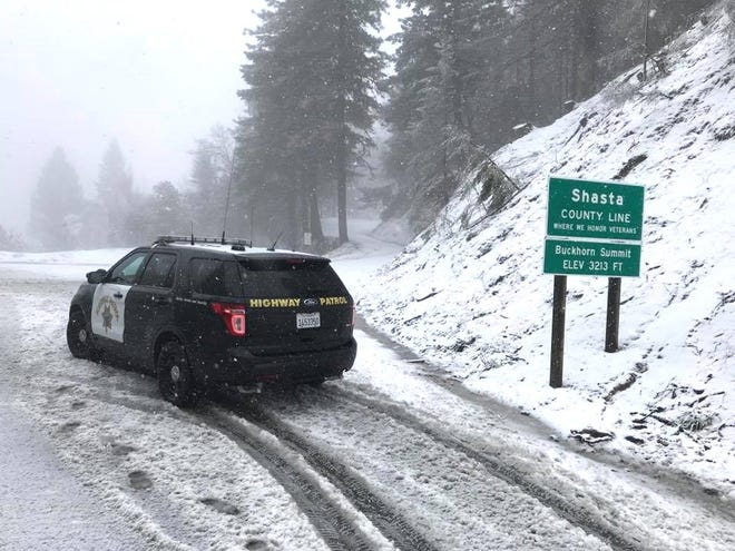 The California Highway Patrol warns drivers in Northern California that winter weather conditions have arrived. This photo was taken at 12:30 p.m. Saturday on Buckhorn Summit along Highway 299 at the Shasta-Trinity county line.