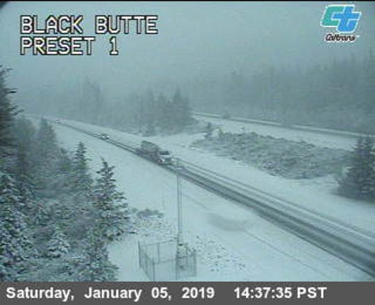 A traffic cam at Black Butte shows lots of snow Saturday afternoon at Interstate 5 in Siskiyou County.