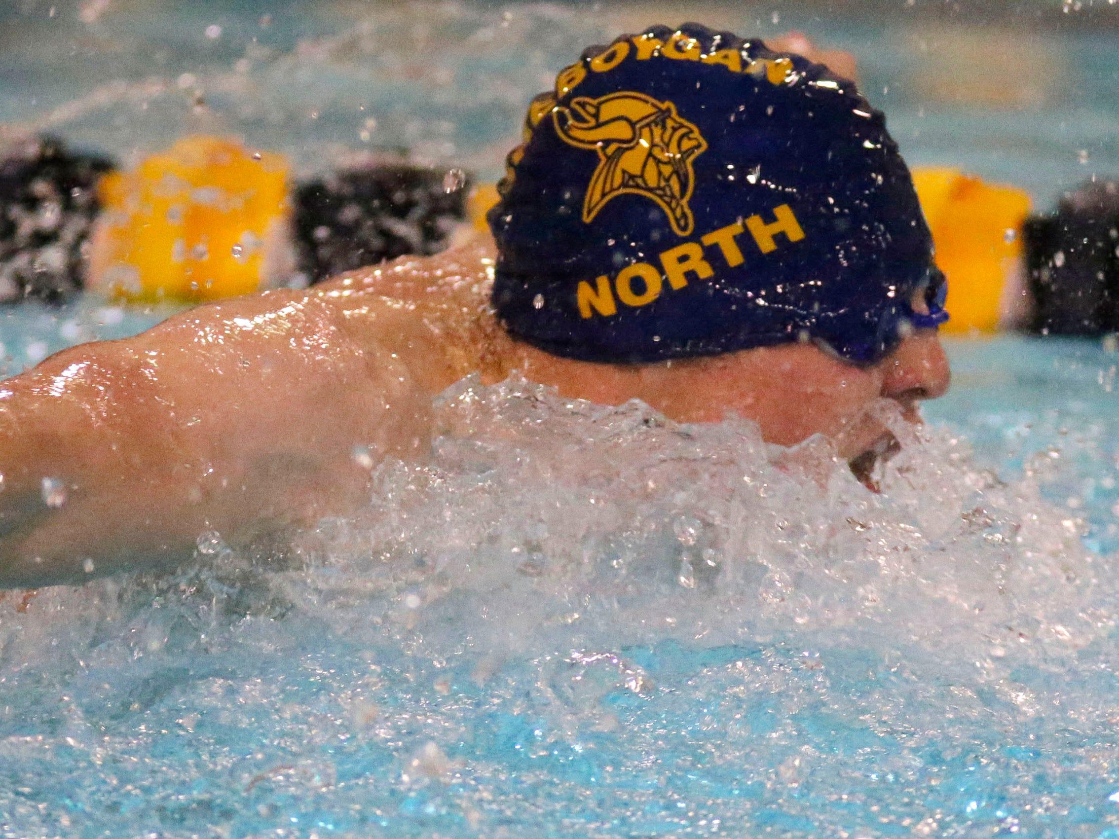 Sheboygan North's Patrick Fisher swims at the Sheboygan North Raider Relays, Saturday, January 5, 2019, in Sheboygan, Wis.