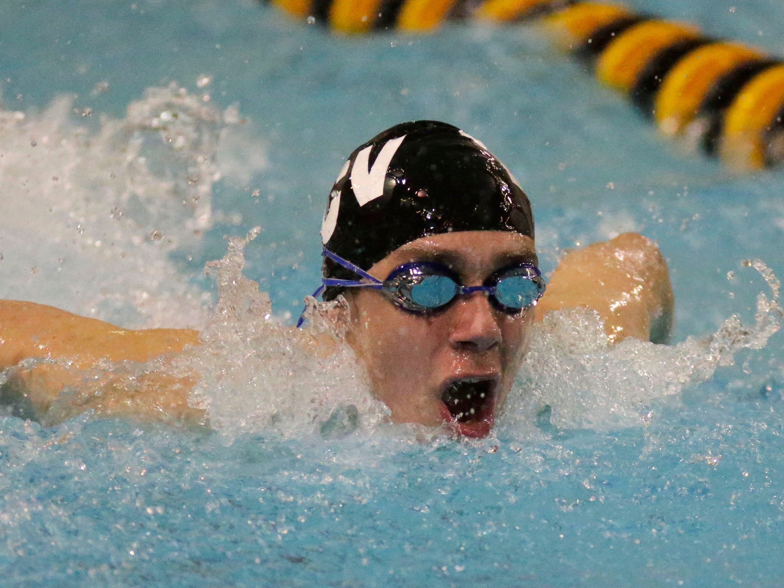 Brillion, Valders, Chilton's Bo Geiger swims a butterfly relay at the Sheboygan North Raider Relays, Saturday, January 5, 2019, in Sheboygan, Wis.