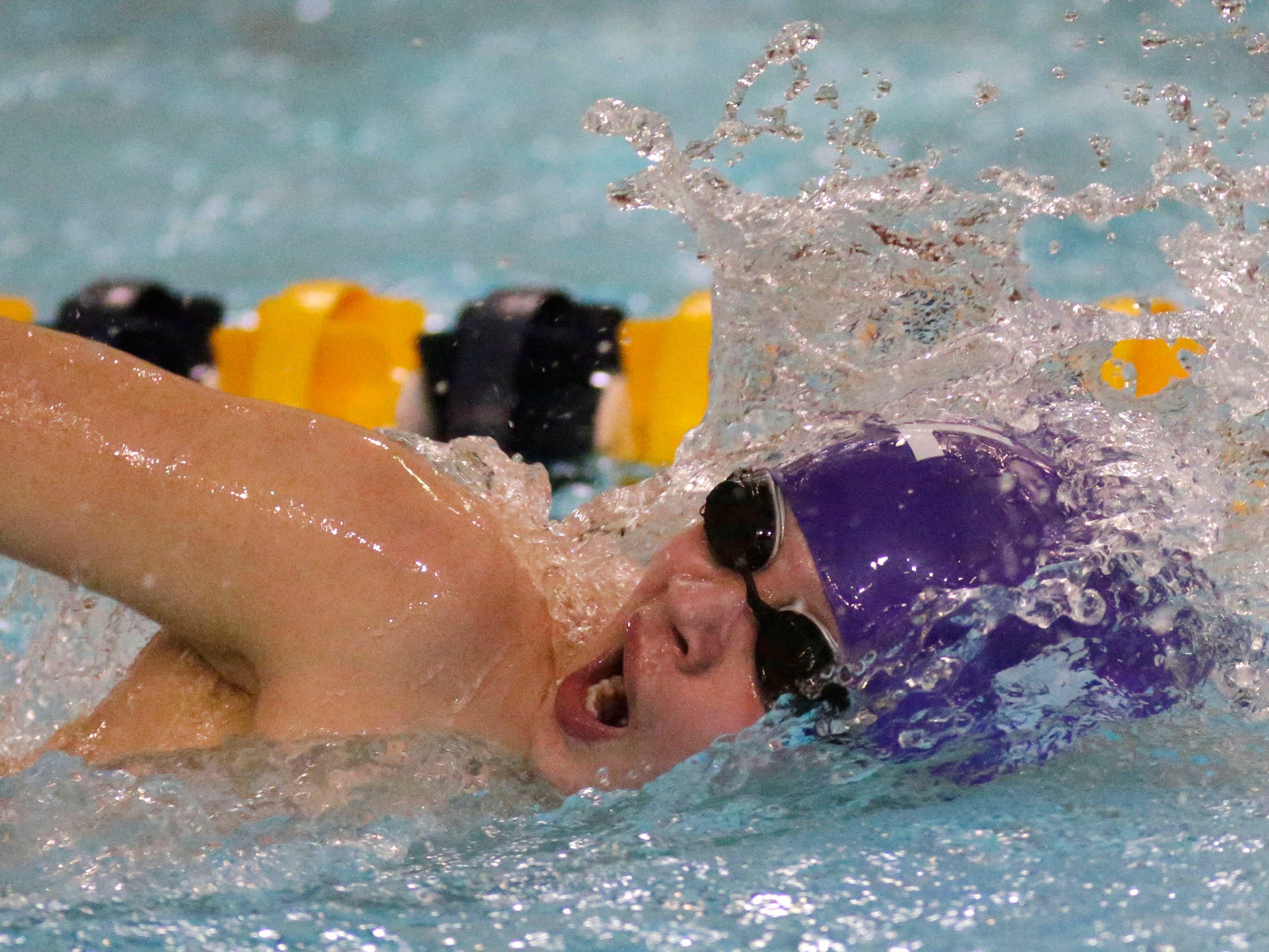 Kiel's Isaac Herr swims a relay at the Sheboygan North Raiders Relays, Saturday, January 5, 2019, in Sheboygan, Wis.