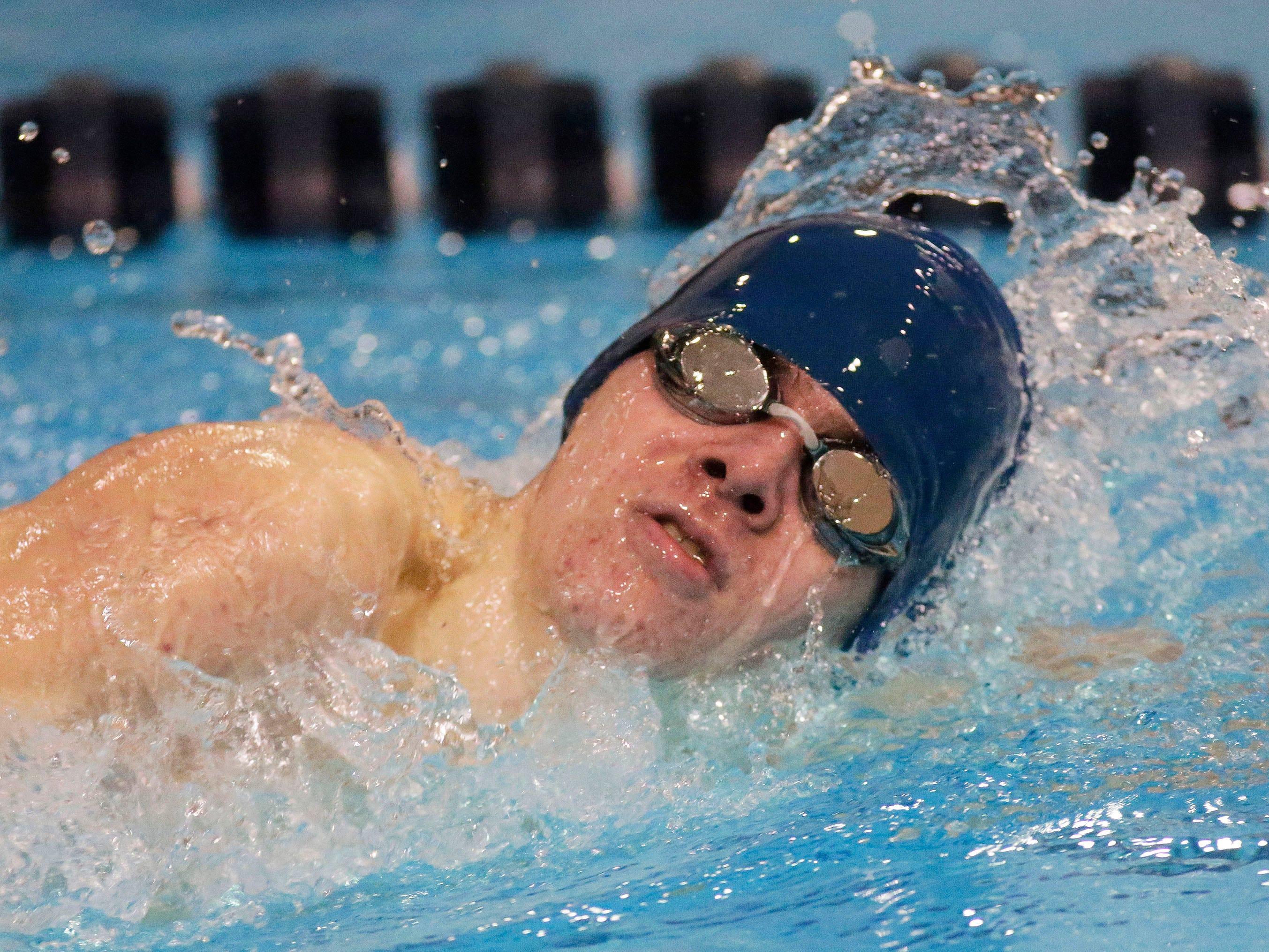 Oshkosh West's Aaron Draxler swims a relay at the Sheboygan North Raiders Relays, Saturday, January 5, 2019, in Sheboygan, Wis.