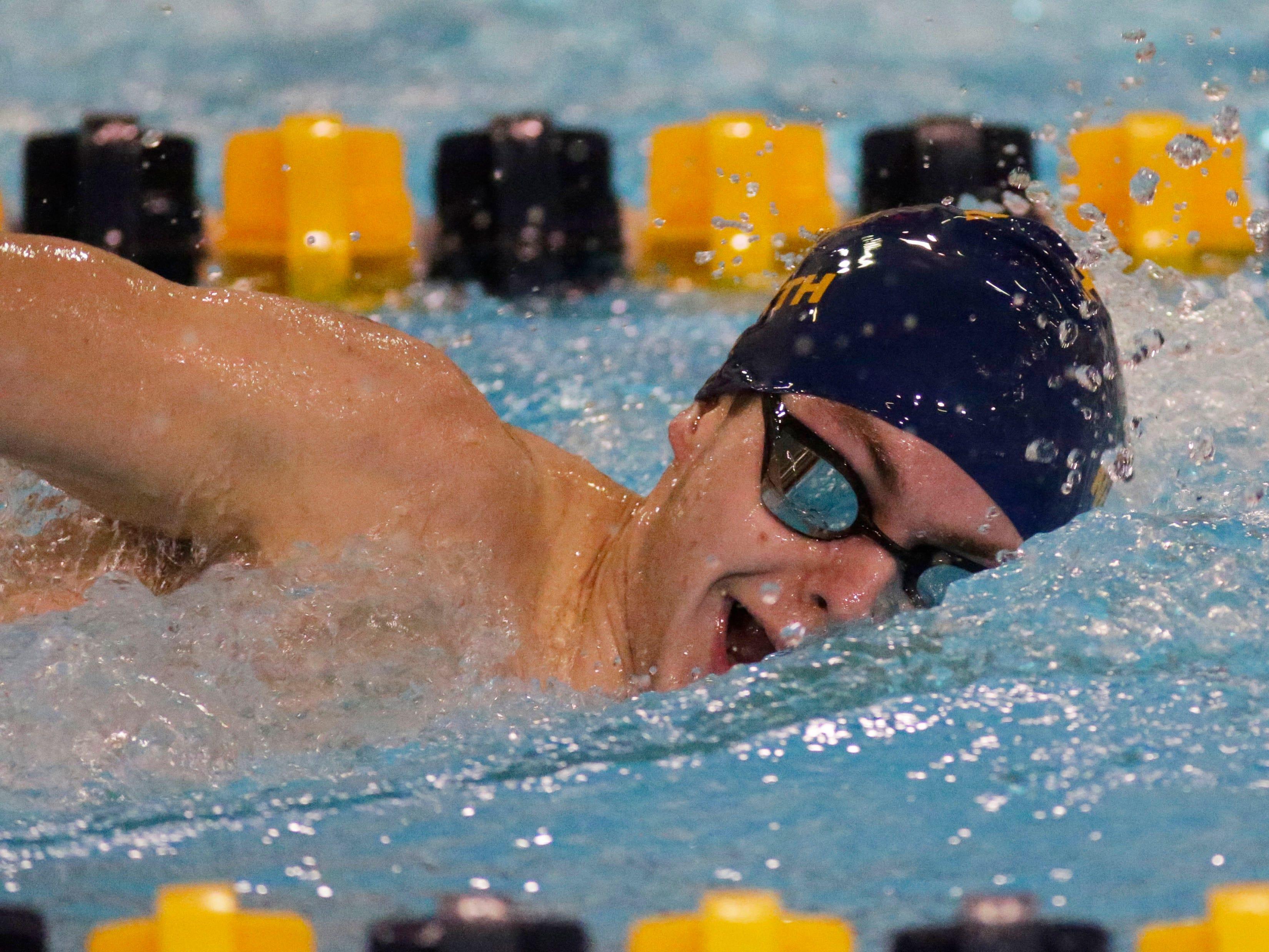Sheboygan North's Charles Broghammer swims the 750 yard relays at the Sheboygan North Raider Relays, Saturday, January 5, 2019, in Sheboygan, Wis.