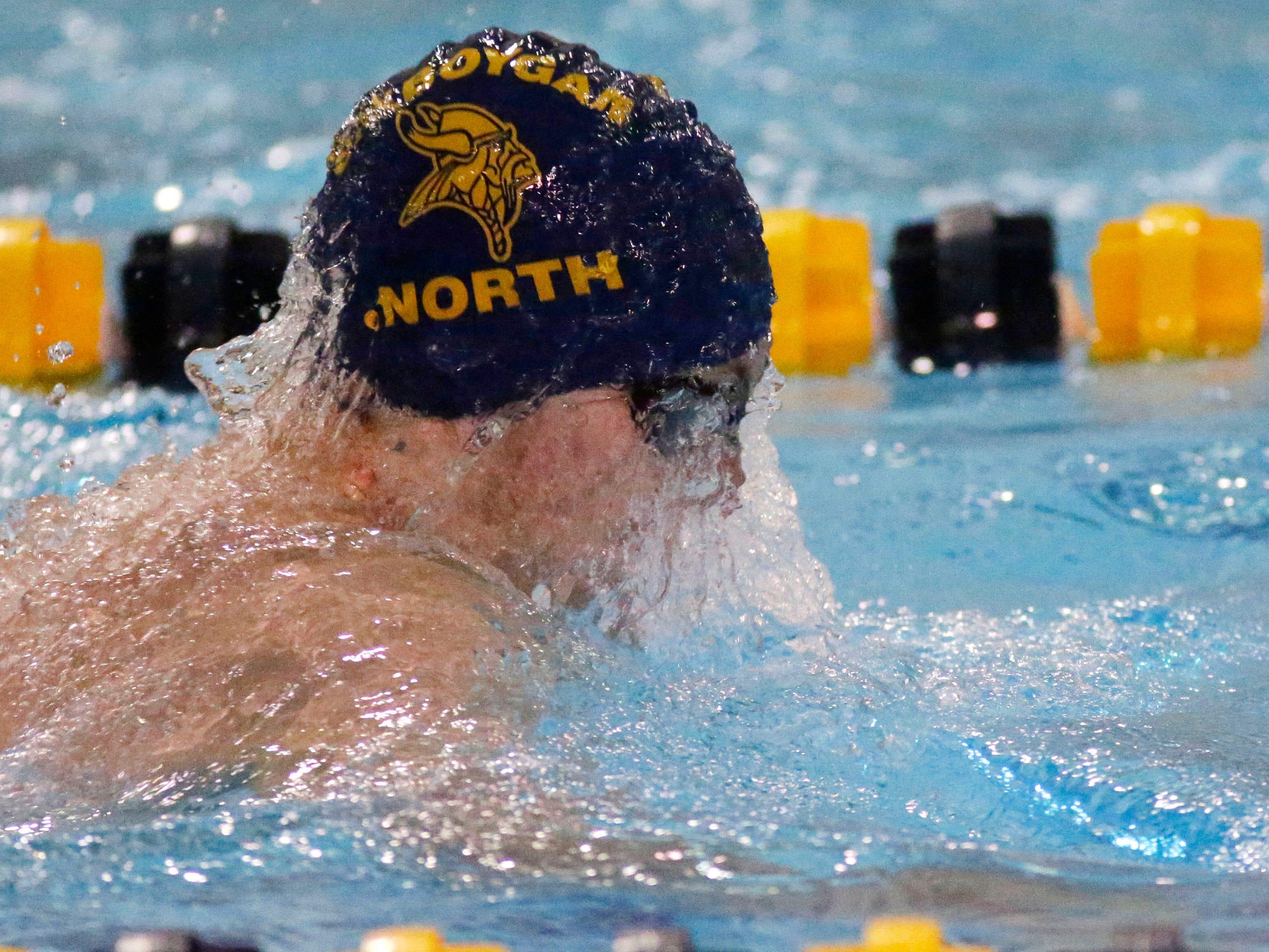 Sheboygan North's Charles Broghammer swims the 200 medley relay, Saturday, January 5, 2019, in Sheboygan, Wis.