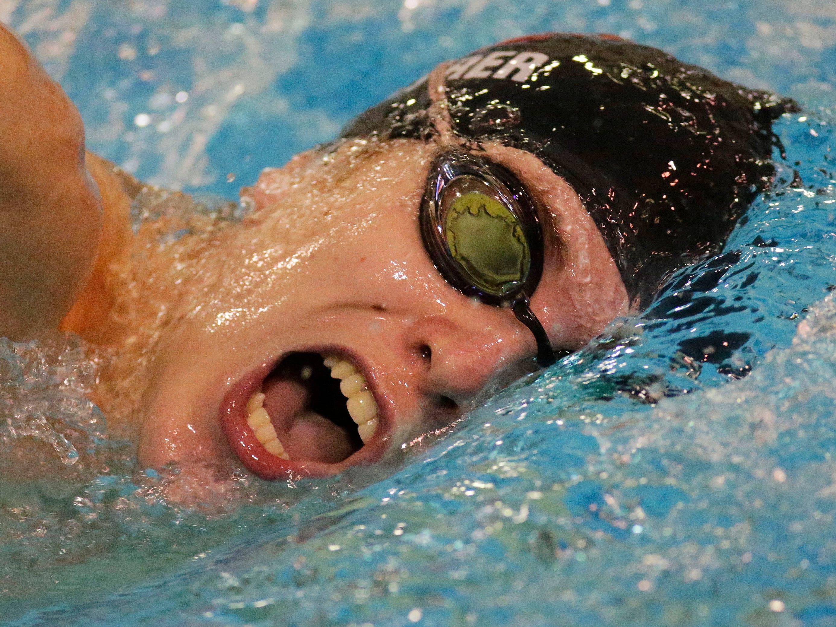 Manitowoc's Gavin Maurer swims the 750 yard freestyle at the Sheboygan North Raider Relays, Saturday, January 5, 2019, in Sheboygan, Wis.