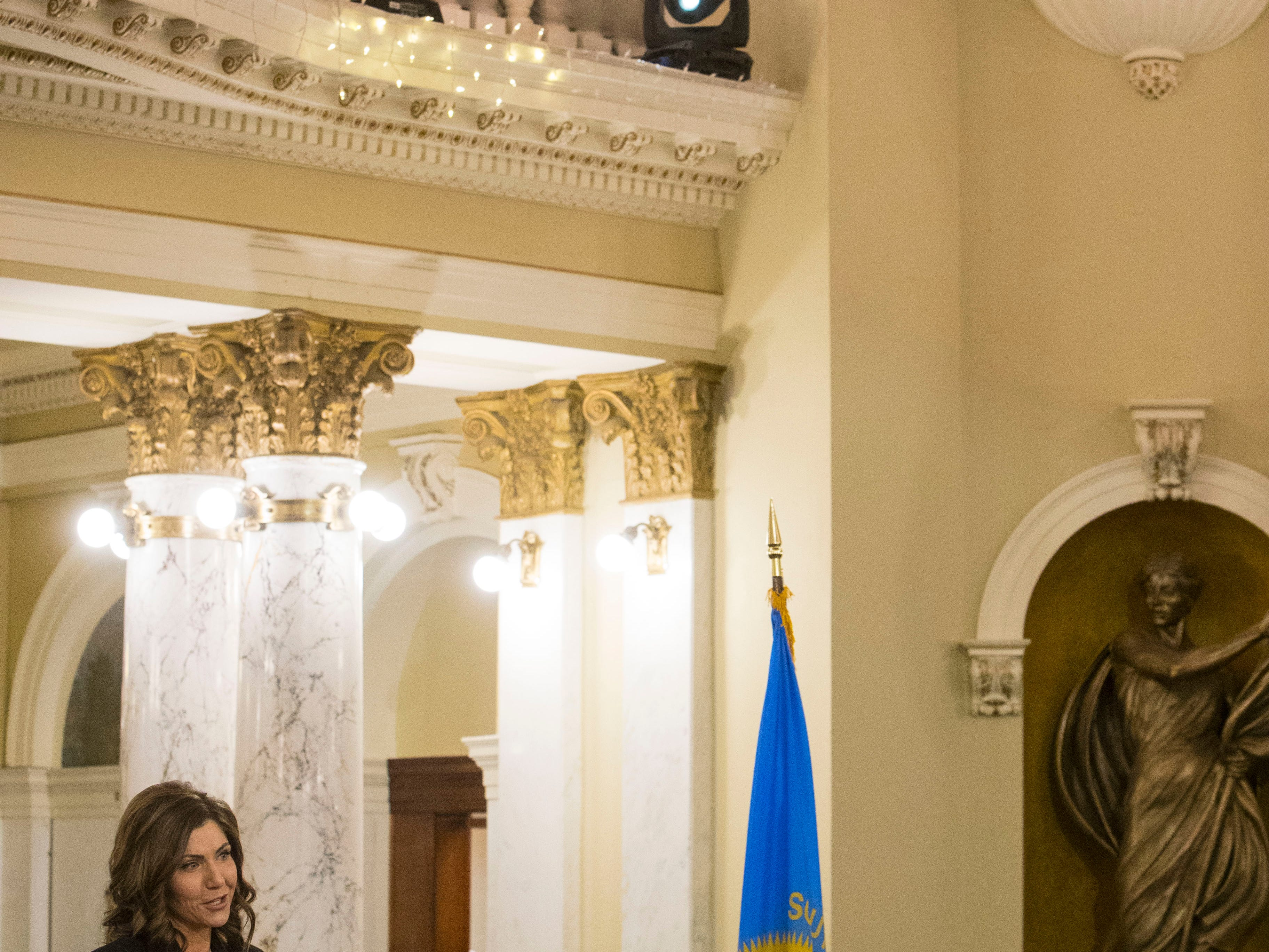 Gov. Kristi Noem speaks Saturday, Jan. 5, 2019, after being sworn-in as South DakotaÕs 33rd and first female governor in Pierre, S.D.