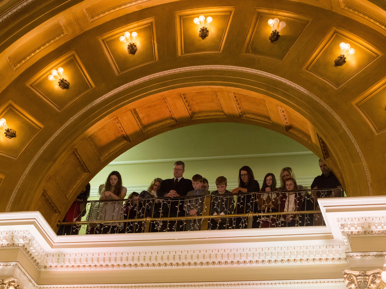 Audience members watch as Gov.-elect Kristi Noem is sworn in as South DakotaÕs 33rd governor, Saturday, Jan. 5, 2019 in Pierre, S.D. Noem is the first woman to hold the position of governor in South Dakota.