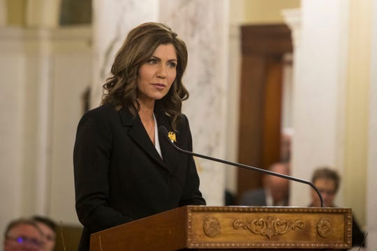 Gov. Kristi Noem speaks Saturday, Jan. 5, 2019, after being sworn-in as South DakotaÕs 33rd and first female governor in Pierre, S.D.