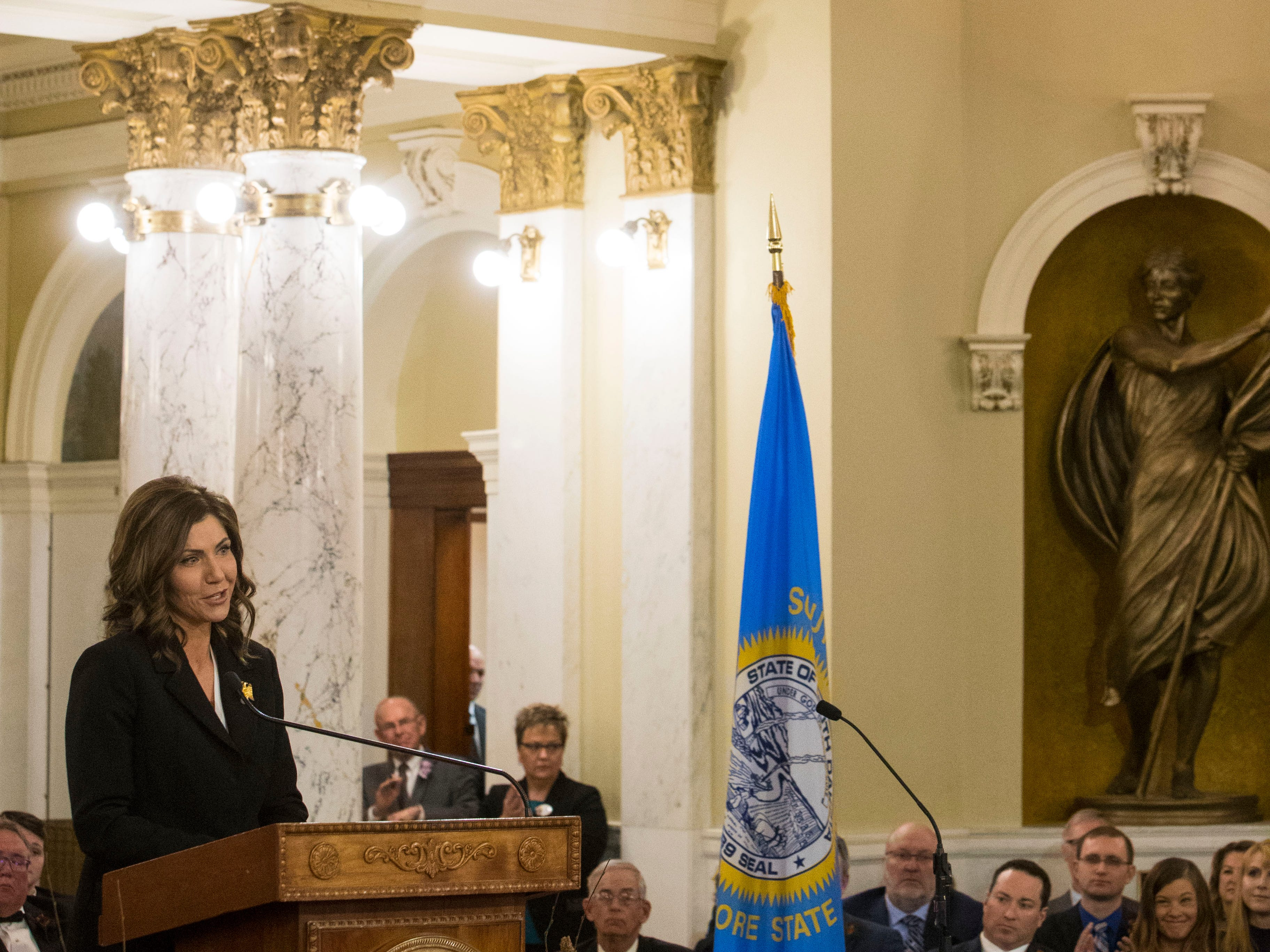 Gov. Kristi Noem speaks during her inaugural address at the state capitol in Pierre on Saturday, Jan. 5.