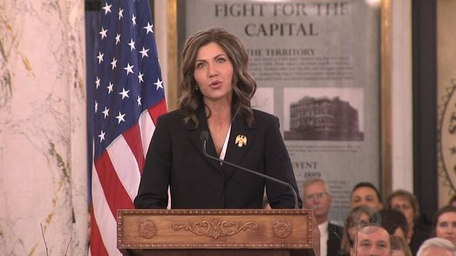 Kristi Noem gives her inaugural address on Saturday in Pierre.