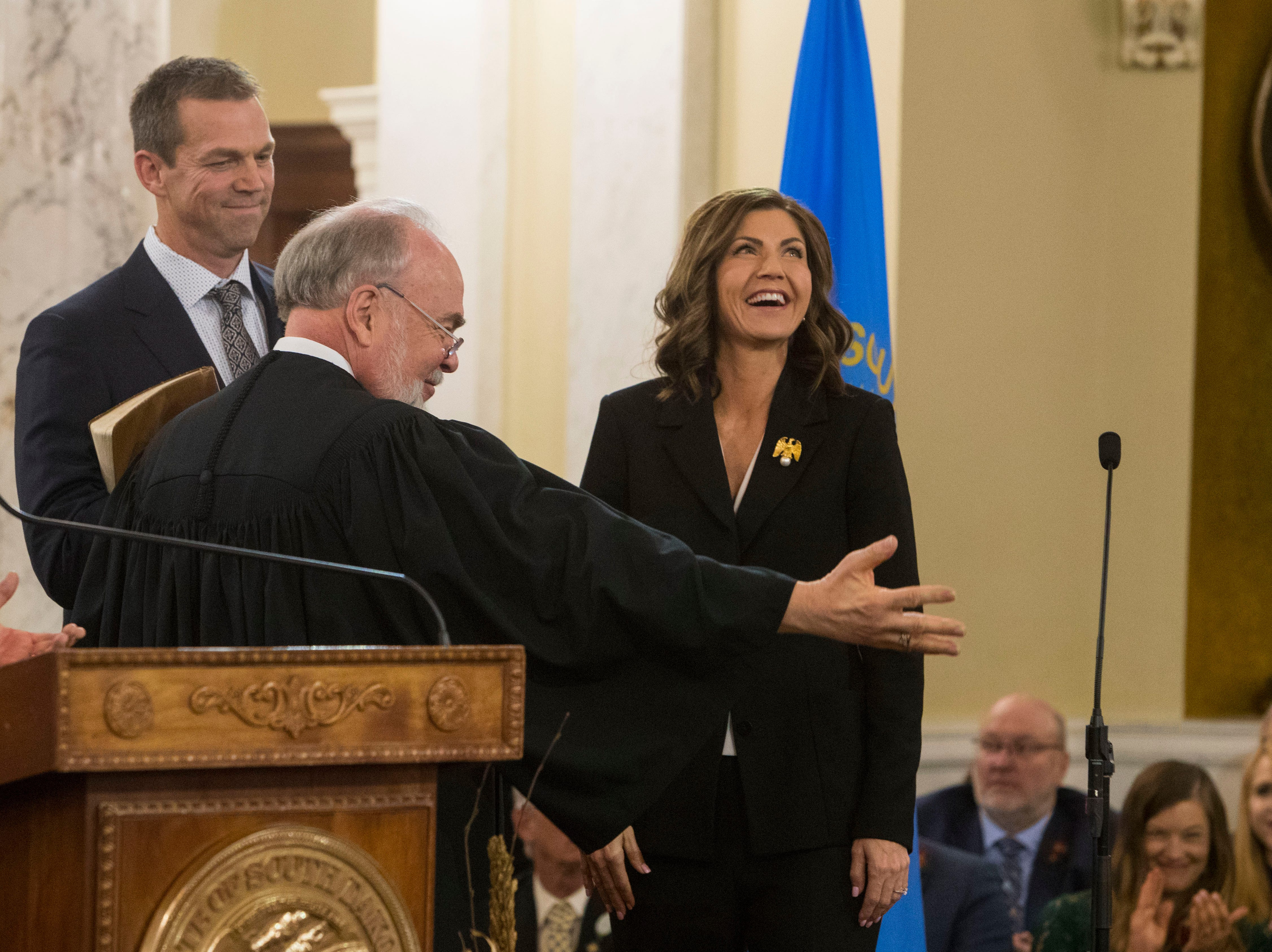Gov.-elect Kristi Noem is sworn in as South DakotaÕs 33rd governor, Saturday, Jan. 5, 2019 in Pierre, S.D. Noem is the first woman to hold the position of governor in South Dakota.
