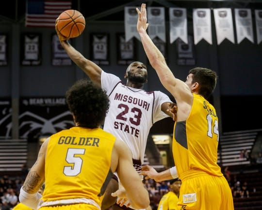 Kabir Mohammed, of Missouri State University, puts up a shot during the Bears 82-66 loss to Valparaiso at JQH Arena on Saturday, Jan. 5, 2018.