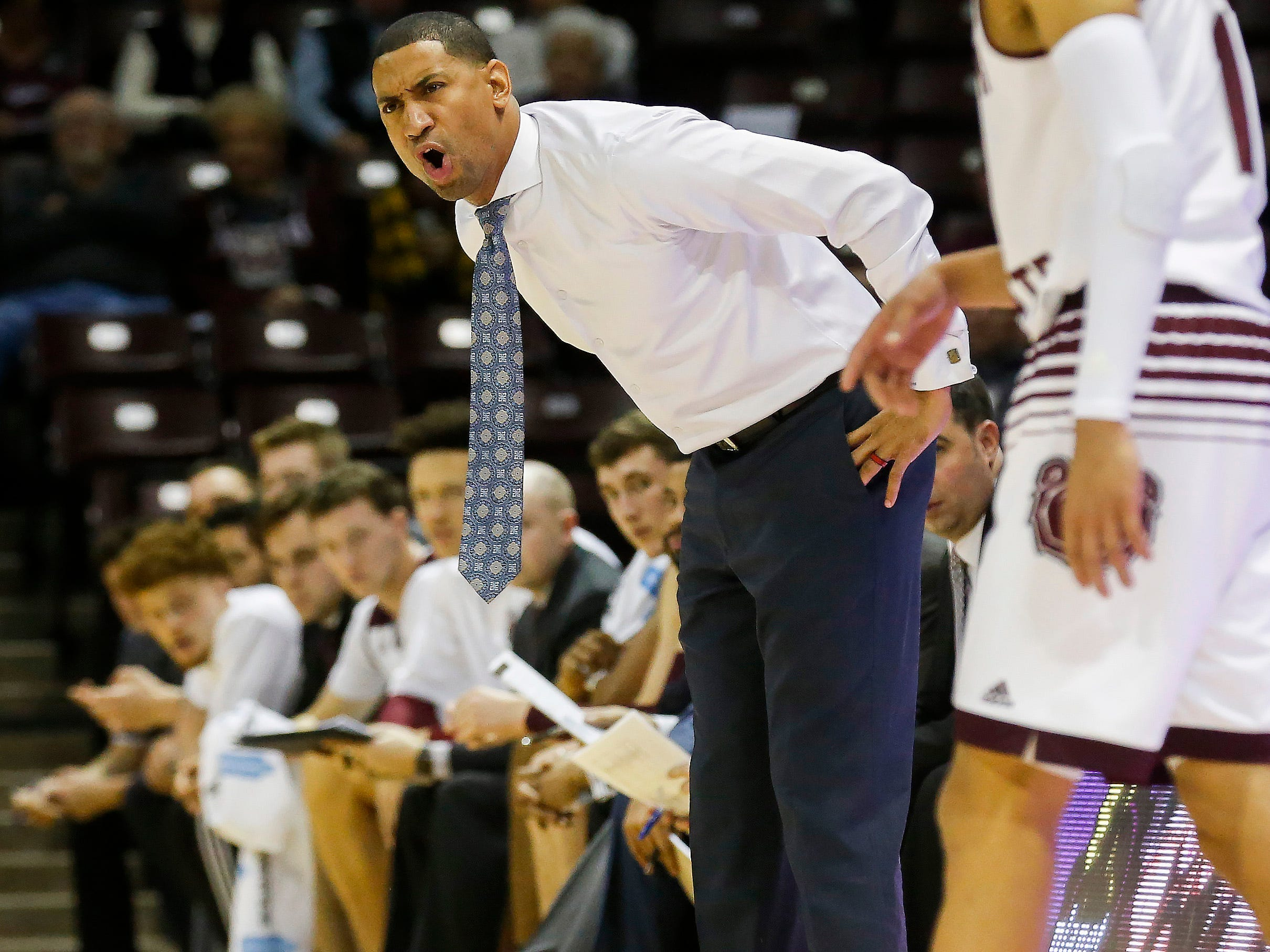Missouri State University head coach Dana Ford yells during the Bears game against Valparaiso at JQH Arena on Saturday, Jan. 5, 2018.
