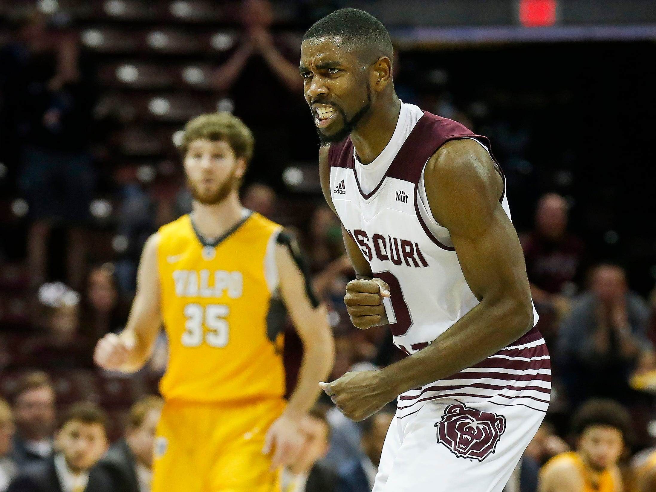 Josh Webster, of Missouri State University, reacts after a play in the Bears 82-66 loss to Valparaiso at JQH Arena on Saturday, Jan. 5, 2018.