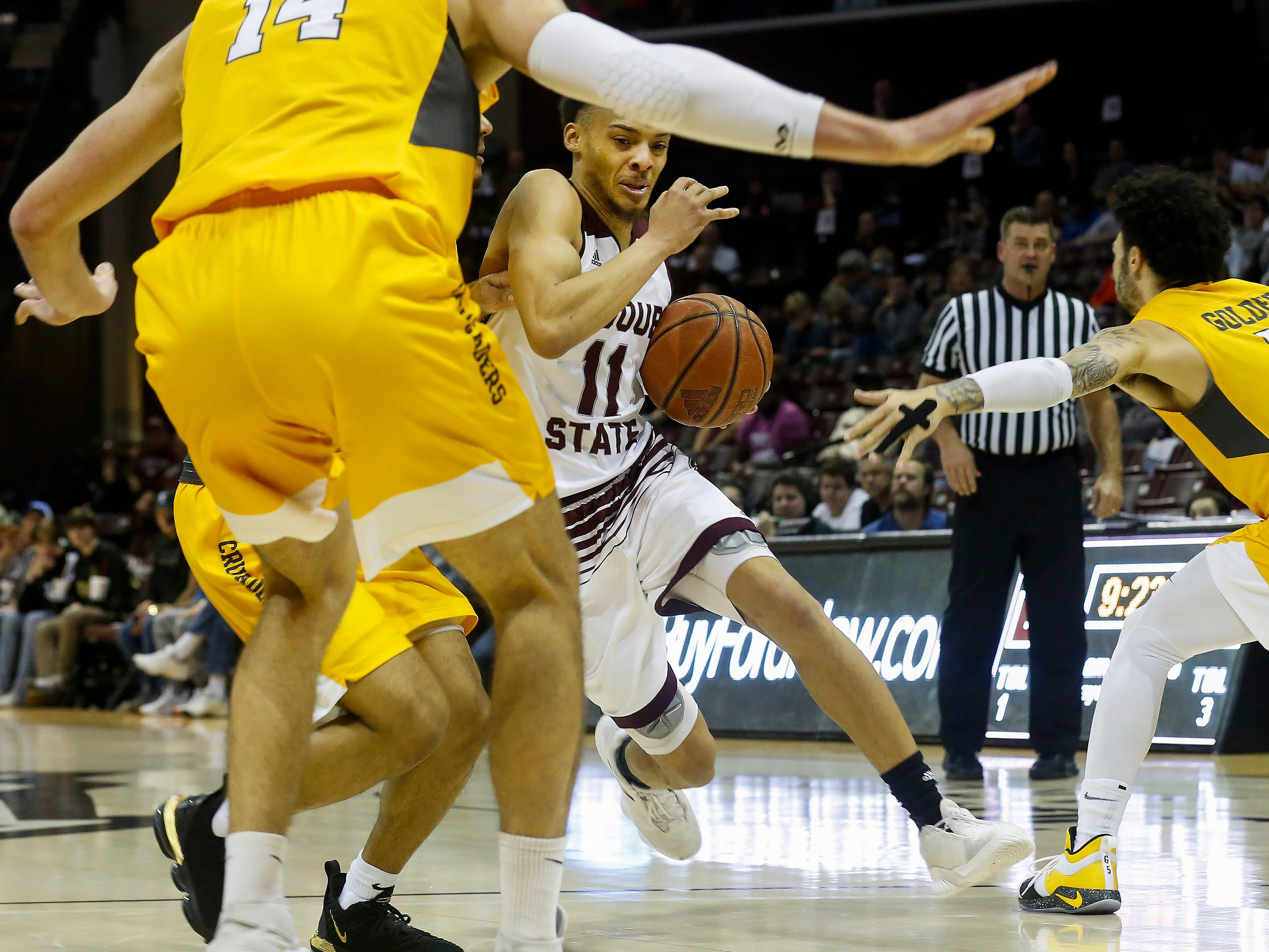 Jarred Dixon, of Missouri State University, drives to the net during the Bears game against Valparaiso at JQH Arena on Saturday, Jan. 5, 2018.