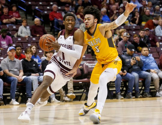Keandre Cook, of Missouri State University, drives across the base line during the Bears game against Valparaiso at JQH Arena on Saturday, Jan. 5, 2018.