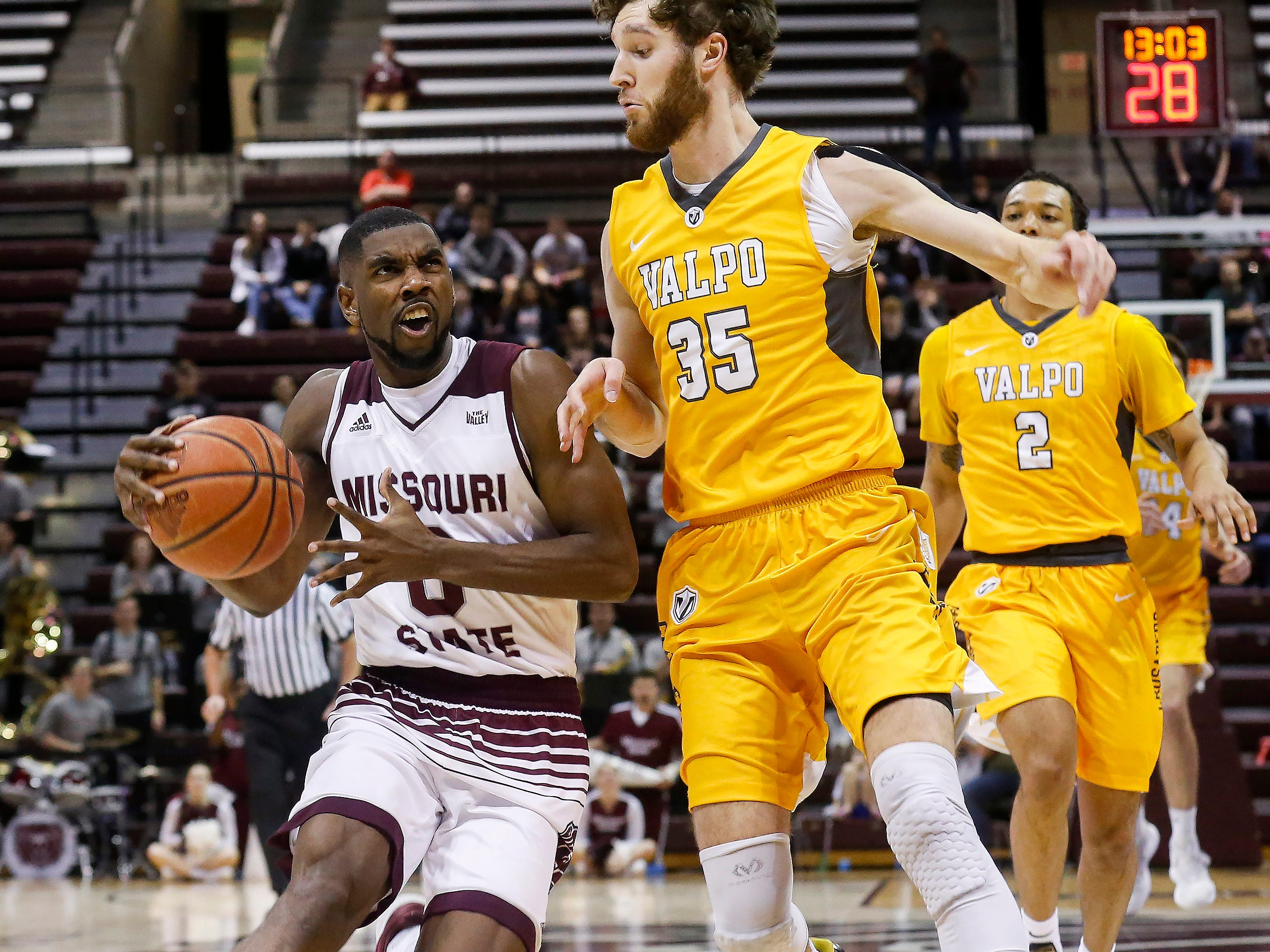 Josh Webster, of Missouri State University, drives to the net during the Bears 82-66 loss to Valparaiso at JQH Arena on Saturday, Jan. 5, 2018.