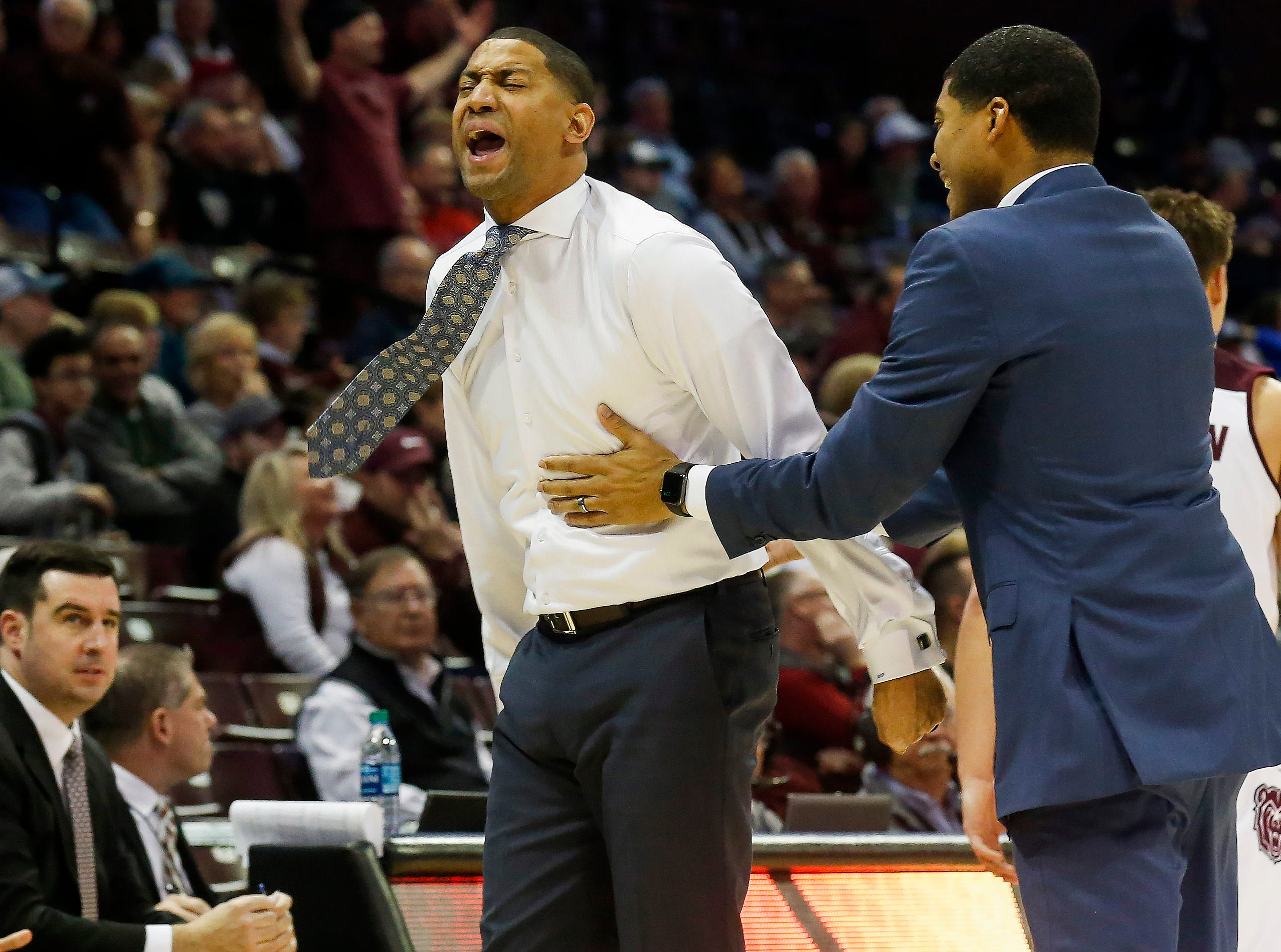 Missouri State University head coach Dana Ford reacts to a call during the Bears 82-66 loss to Valparaiso at JQH Arena on Saturday, Jan. 5, 2018.