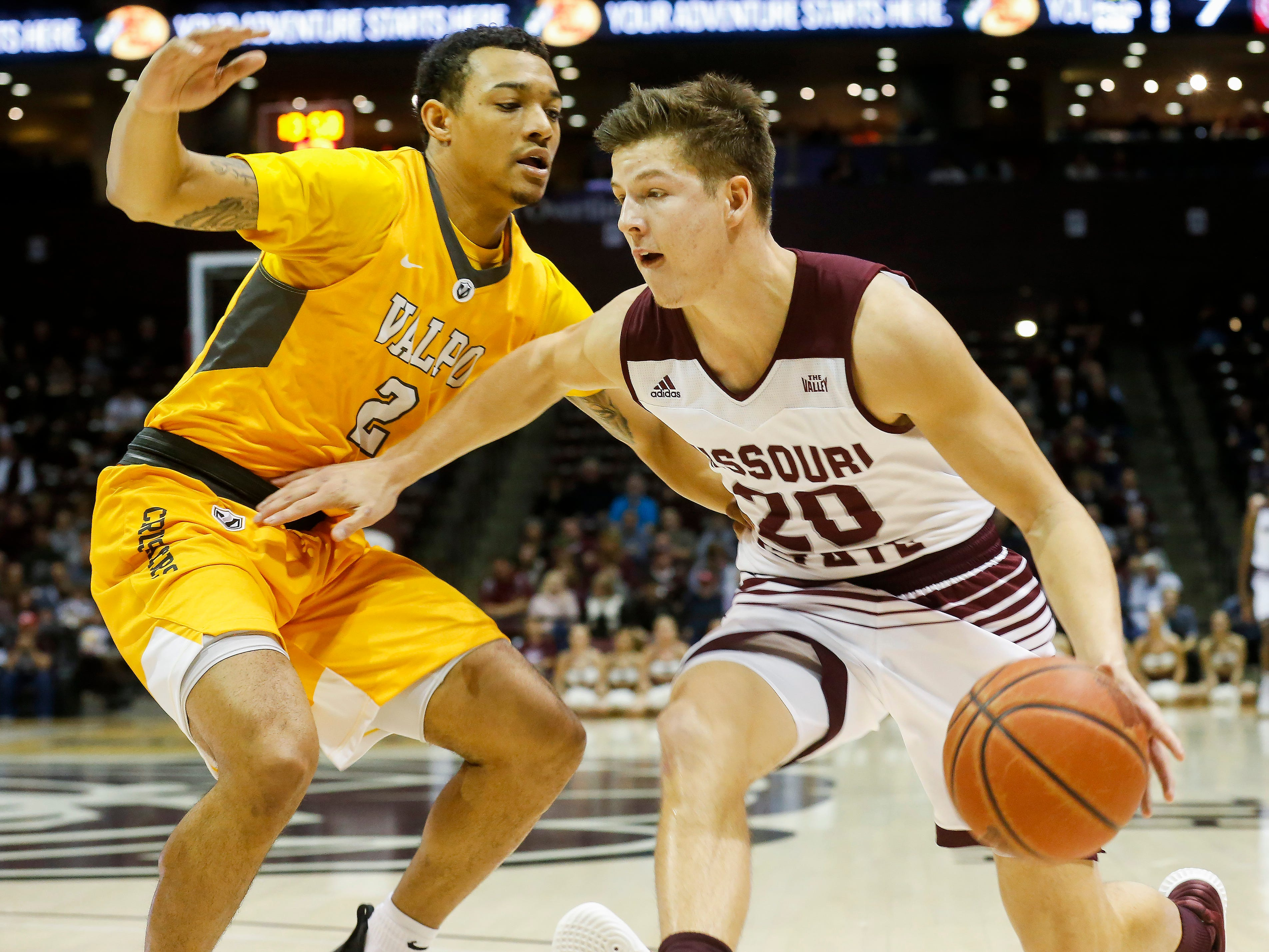 Ryan Kreklow, of Missouri State University, moves against Deion Lavender during the Bears game against Valparaiso at JQH Arena on Saturday, Jan. 5, 2018.