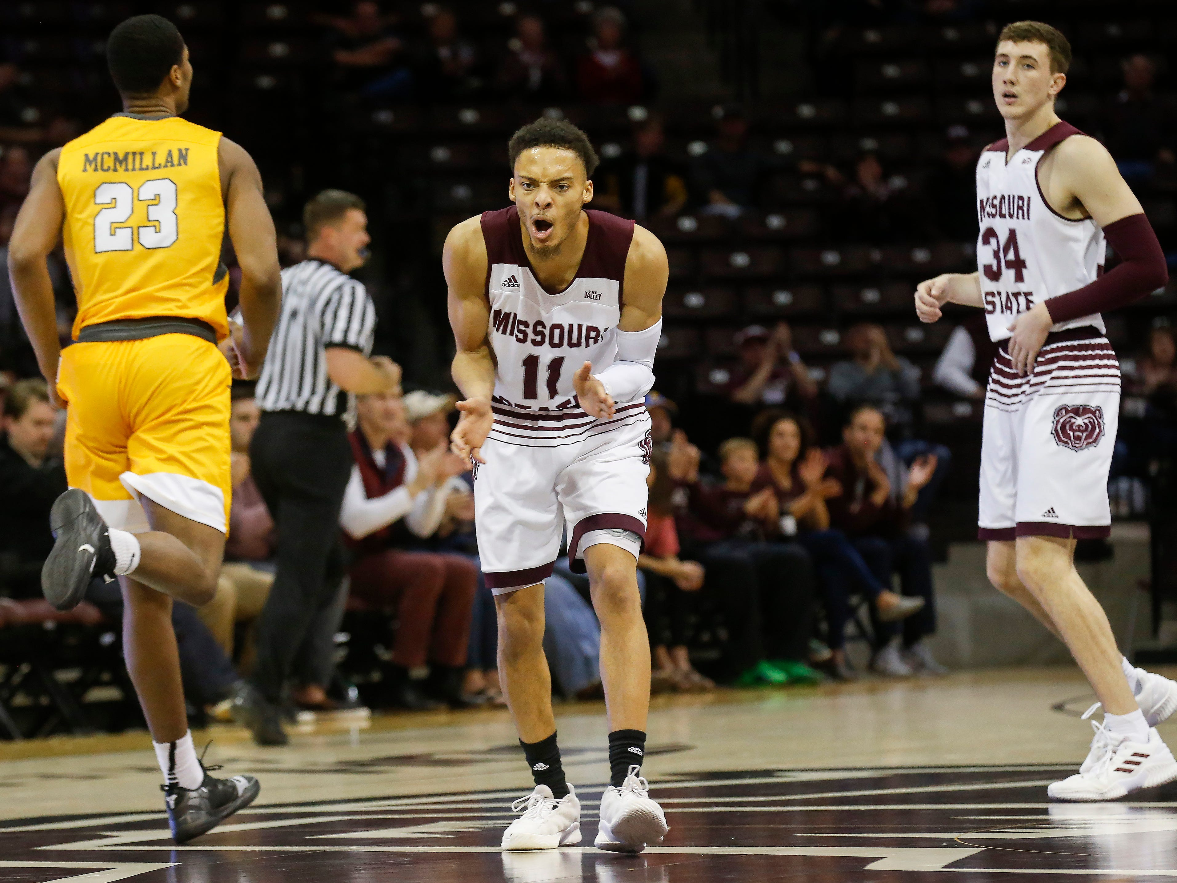 Jarred Dixon, of Missouri State University, encourages his team during the Bears game against Valparaiso at JQH Arena on Saturday, Jan. 5, 2018.
