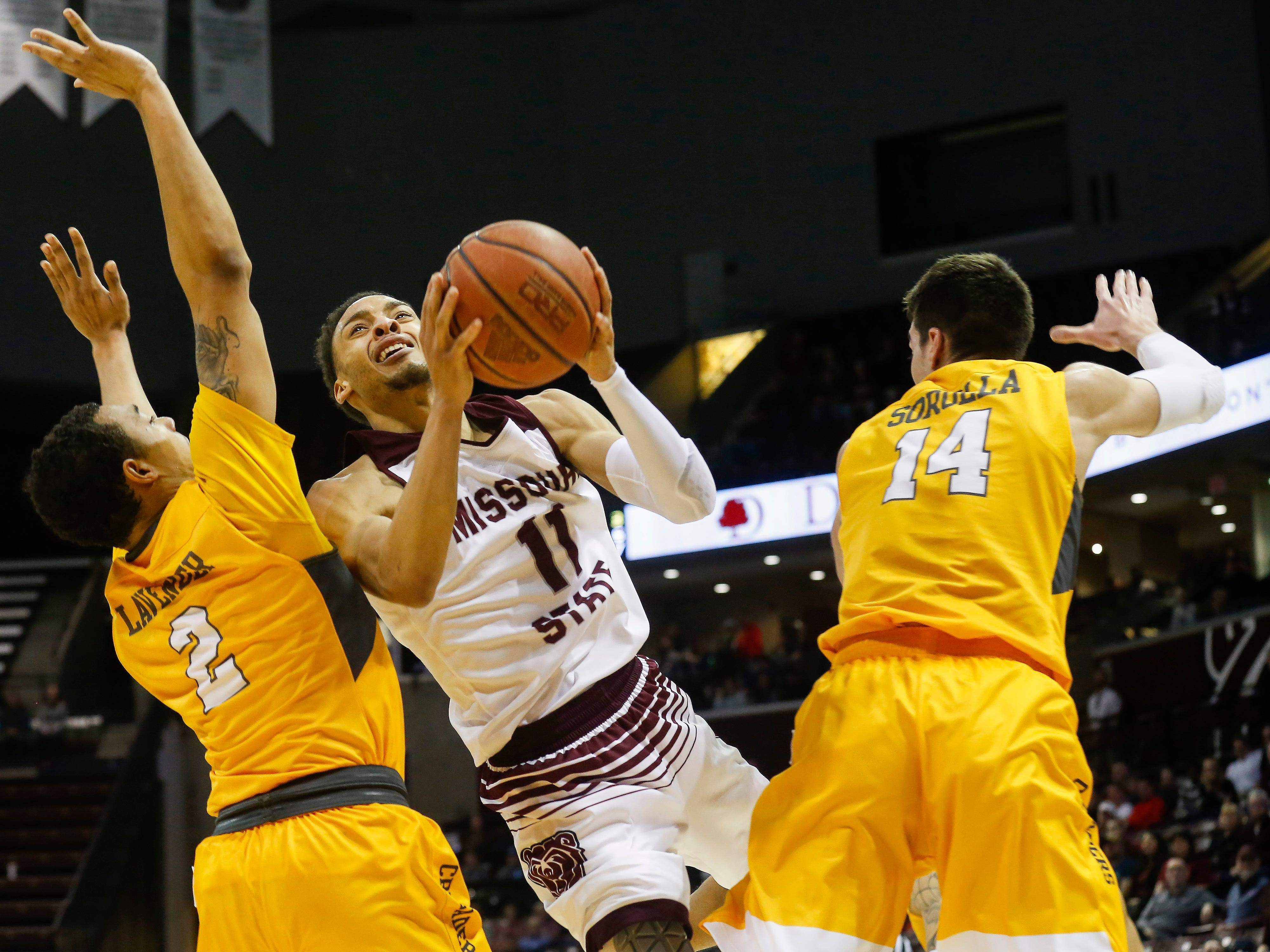 Jarred Dixon, of Missouri State University, puts up the shot during the Bears game against Valparaiso at JQH Arena on Saturday, Jan. 5, 2018.
