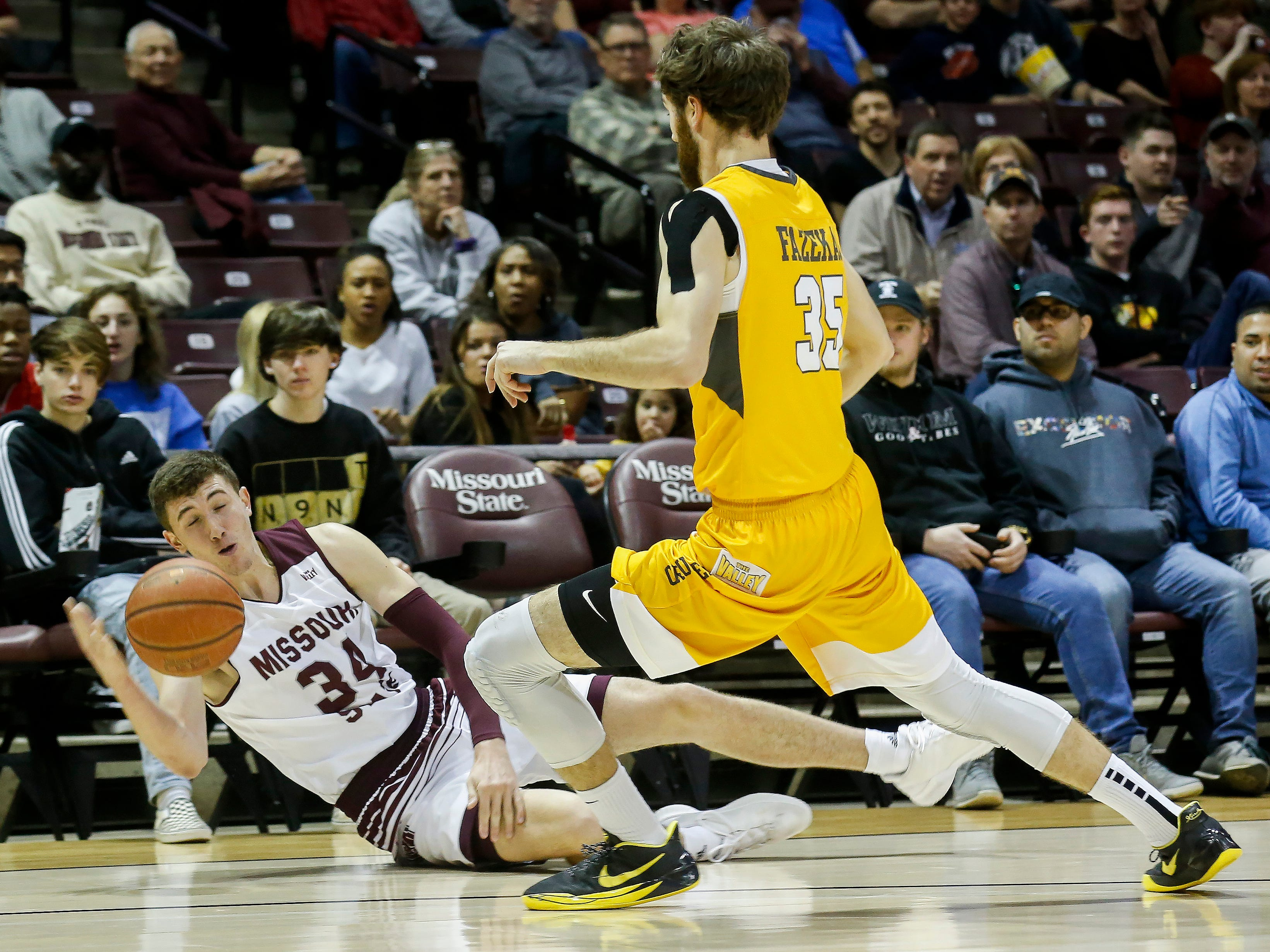 Jared Ridder, of Missouri State University, loses control of the ball during the Bears game against Valparaiso at JQH Arena on Saturday, Jan. 5, 2018.