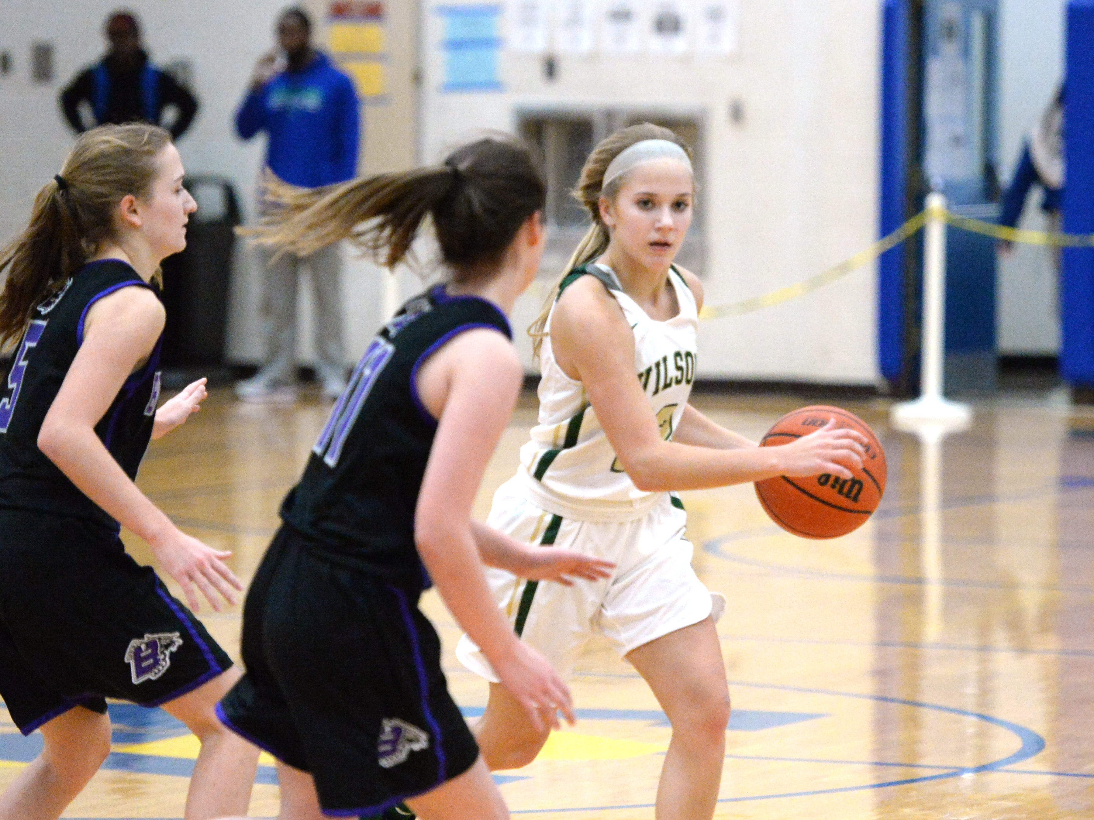 Wilson Memorial's LeAnna Rankin works to find an open teammate Saturday at Western Albemarle High School, part of the Play of Preemies Showcase.