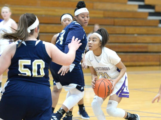 Waynesboro's De'nia Jones gets ready to go up for a shot Saturday against Covington in the Play of Preemies Showcase at Western Albemarle.