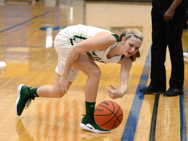 Wilson Memorial's Paris Hutchinson tries to keep the ball inbounds Saturday at Western Albemarle High School, part of the Play of Preemies Showcase.