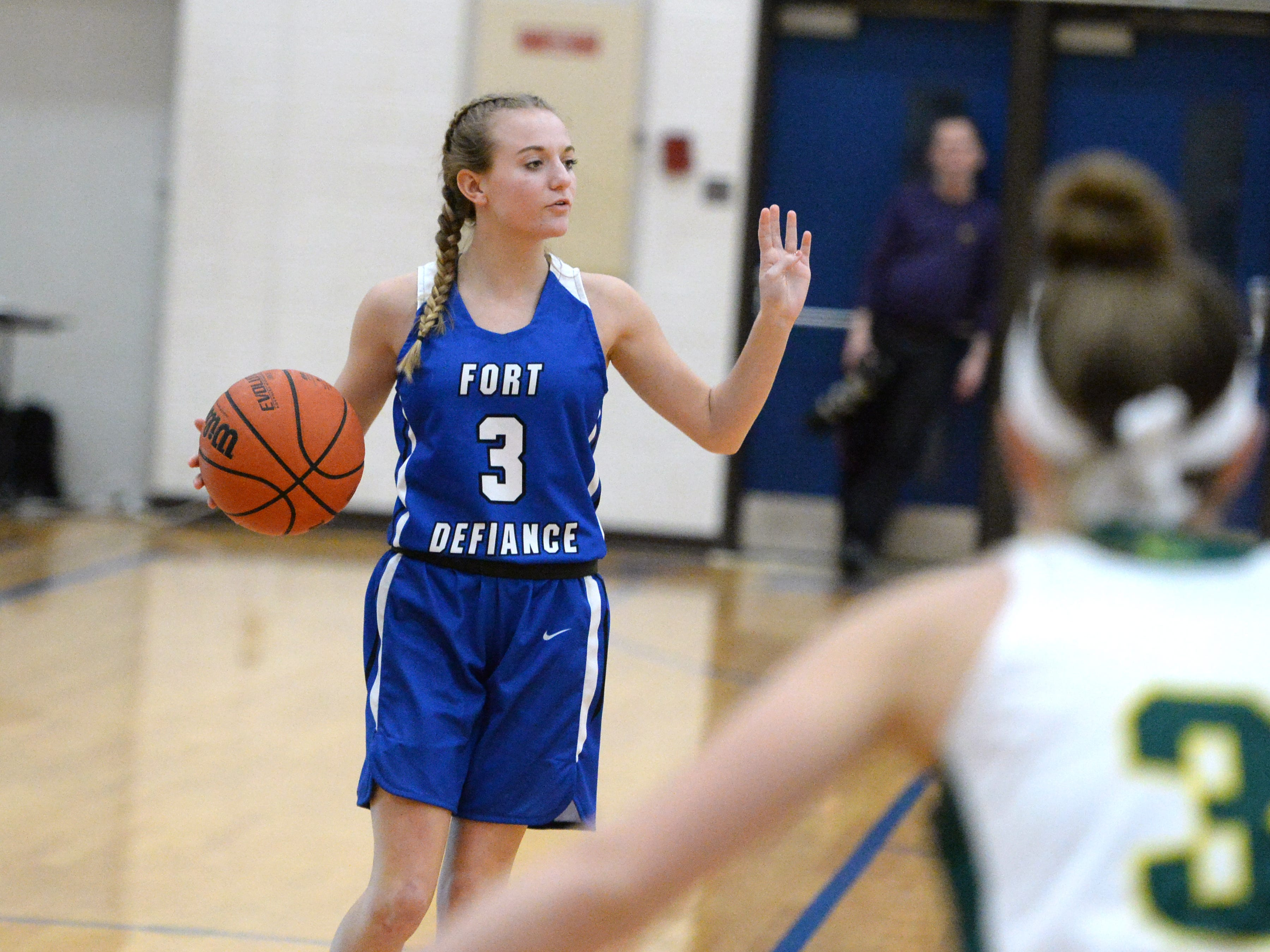 Fort Defiance's MaKayla Kershner brings the ball up court Saturday at the Play of Preemies Showcase at Western Albemarle High School.