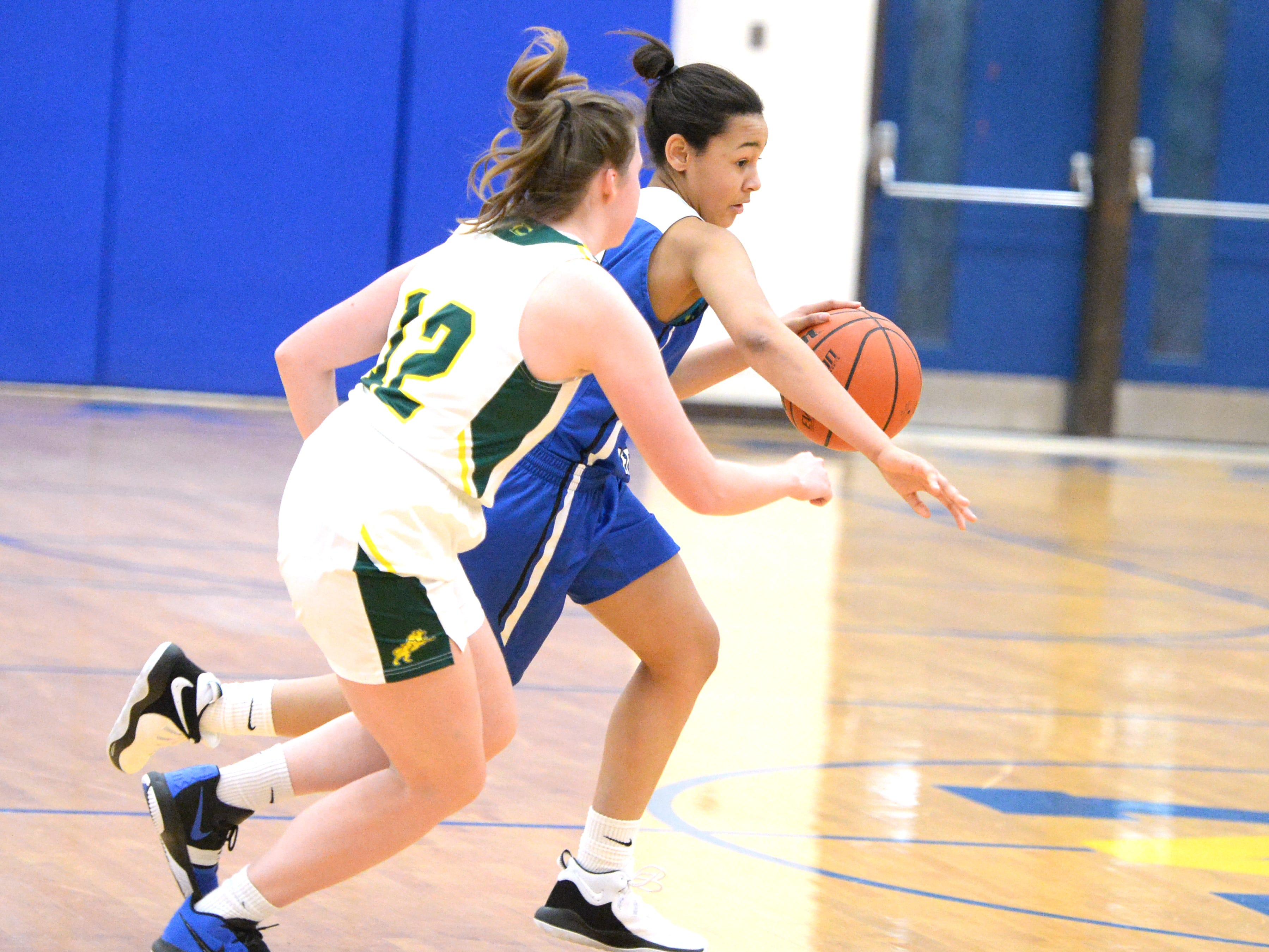 Fort Defiance's Kiersten Ransome drives around Louisa's Loralie Andre Saturday at the Play of Preemies Showcase at Western Albemarle High School.