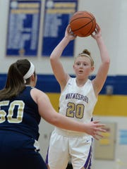 Waynesboro's Madison Payne looks to pass to a teammate Saturday in the Play of Preemies Showcase at Western Albemarle.