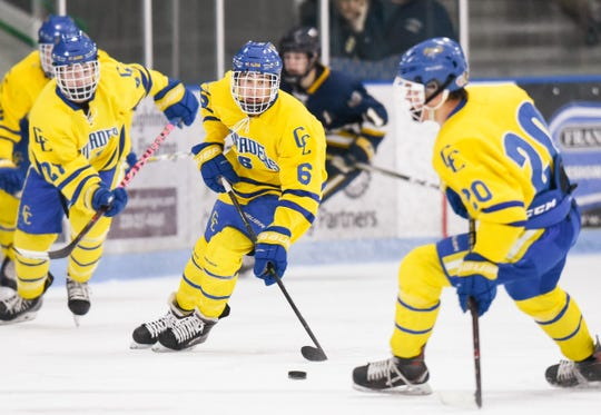 St. Cloud Cathedral's Cullen Hiltner skates with the puck against Hermantown during the first period Friday, Jan. 4, at the MAC in St. Cloud.