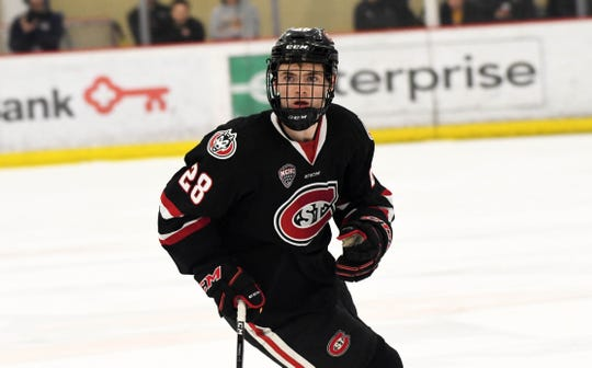 St. Cloud State sophomore forward Kevin Fitzgerald scans the ice against Union College in game one of the Three Rivers Classic.