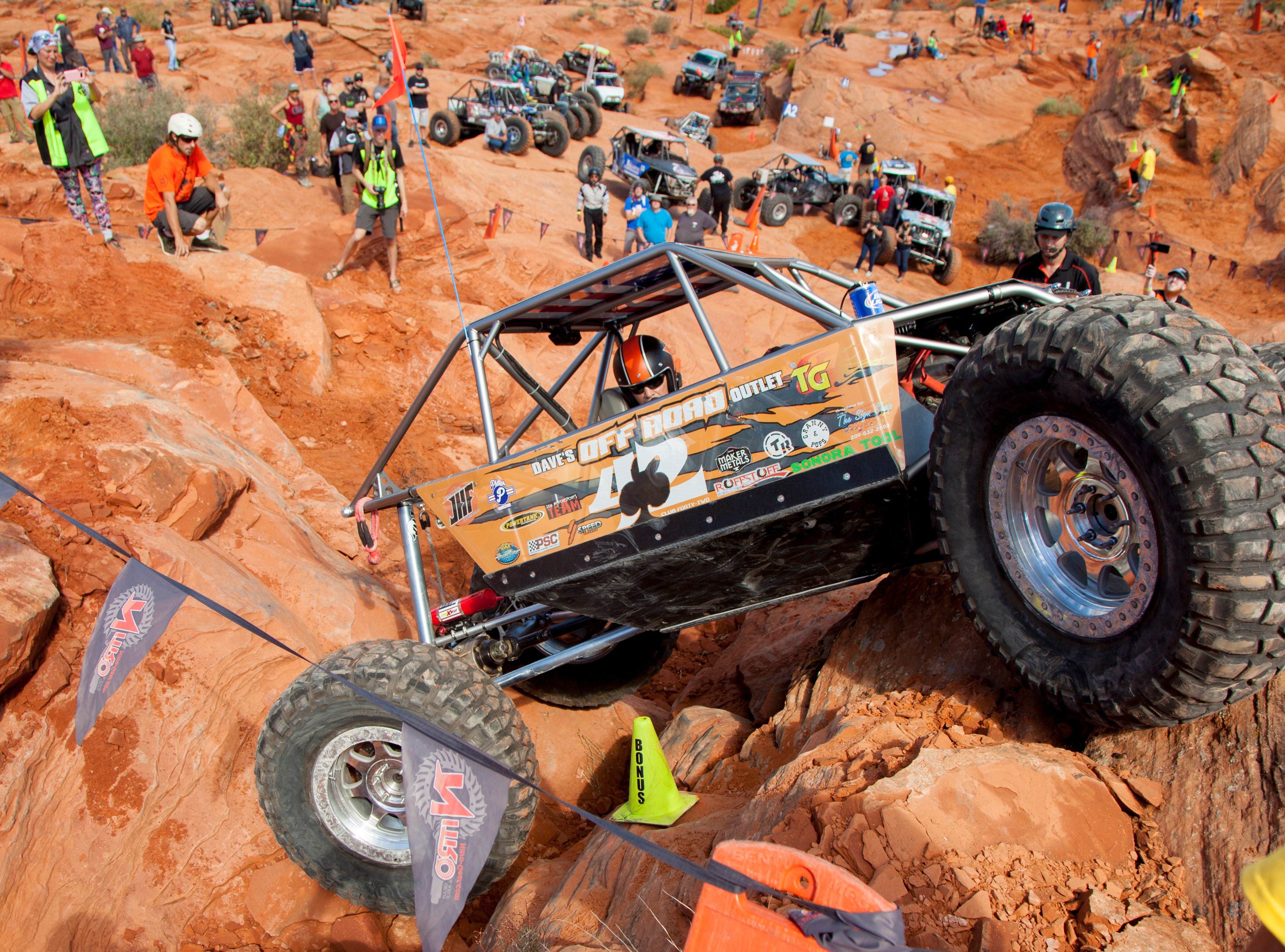 Drivers compete in the Trail Hero rock crawling event at Sand Hollow Thursday, Oct. 4, 2018.
