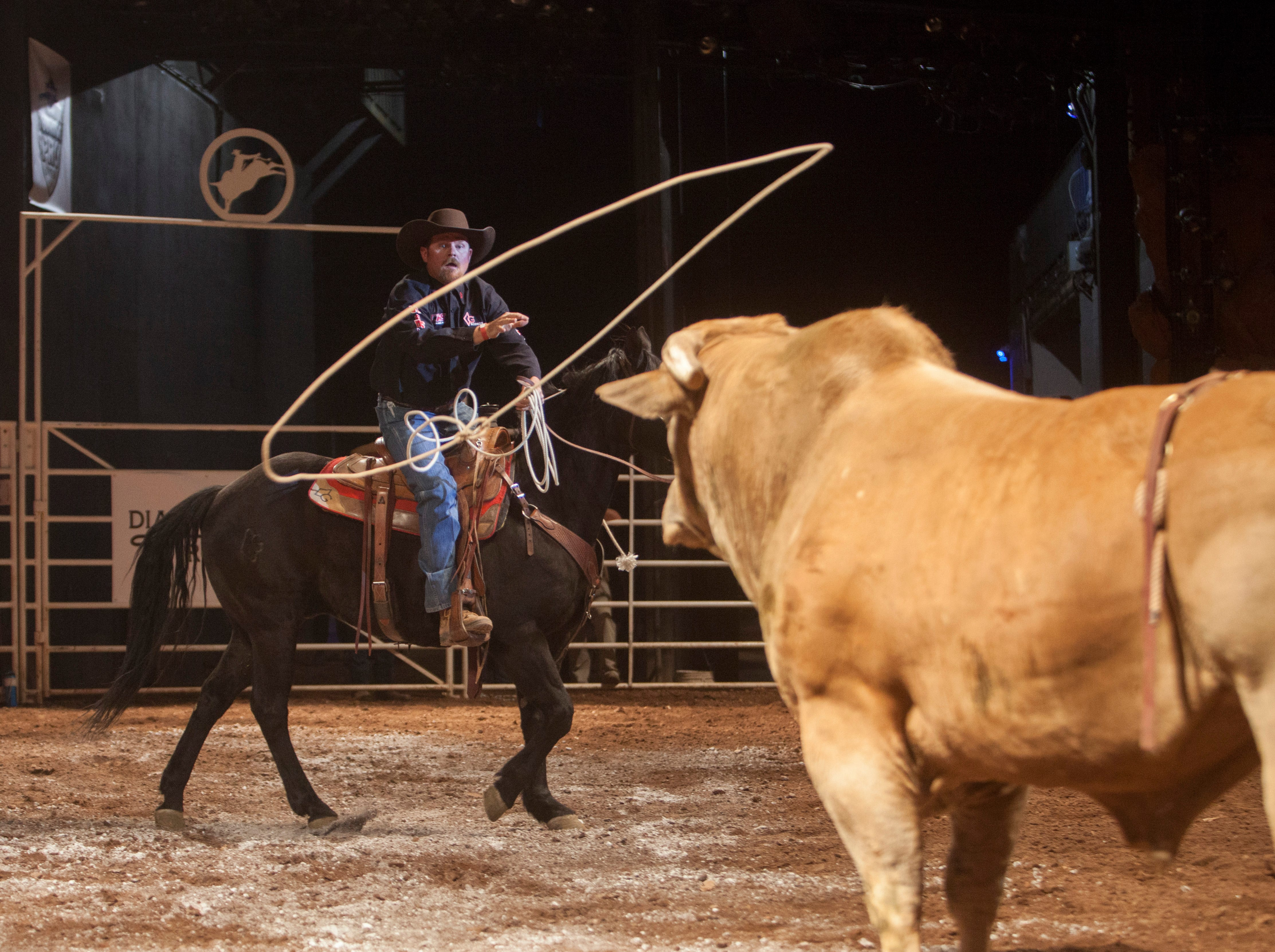 Contestants take their turns in the ring during the Professional Bull Riders event at Tuacahn Thursday, April 5, 2018.