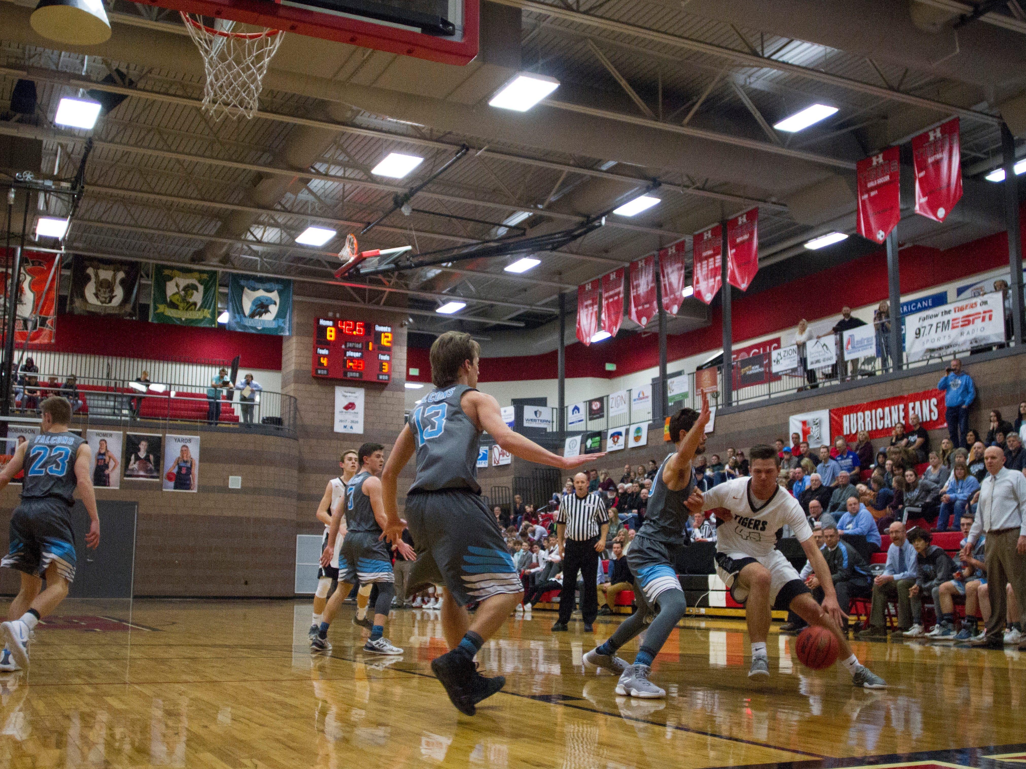 Hurricane High basketball takes on Canyon View Friday, Jan. 4, 2018.