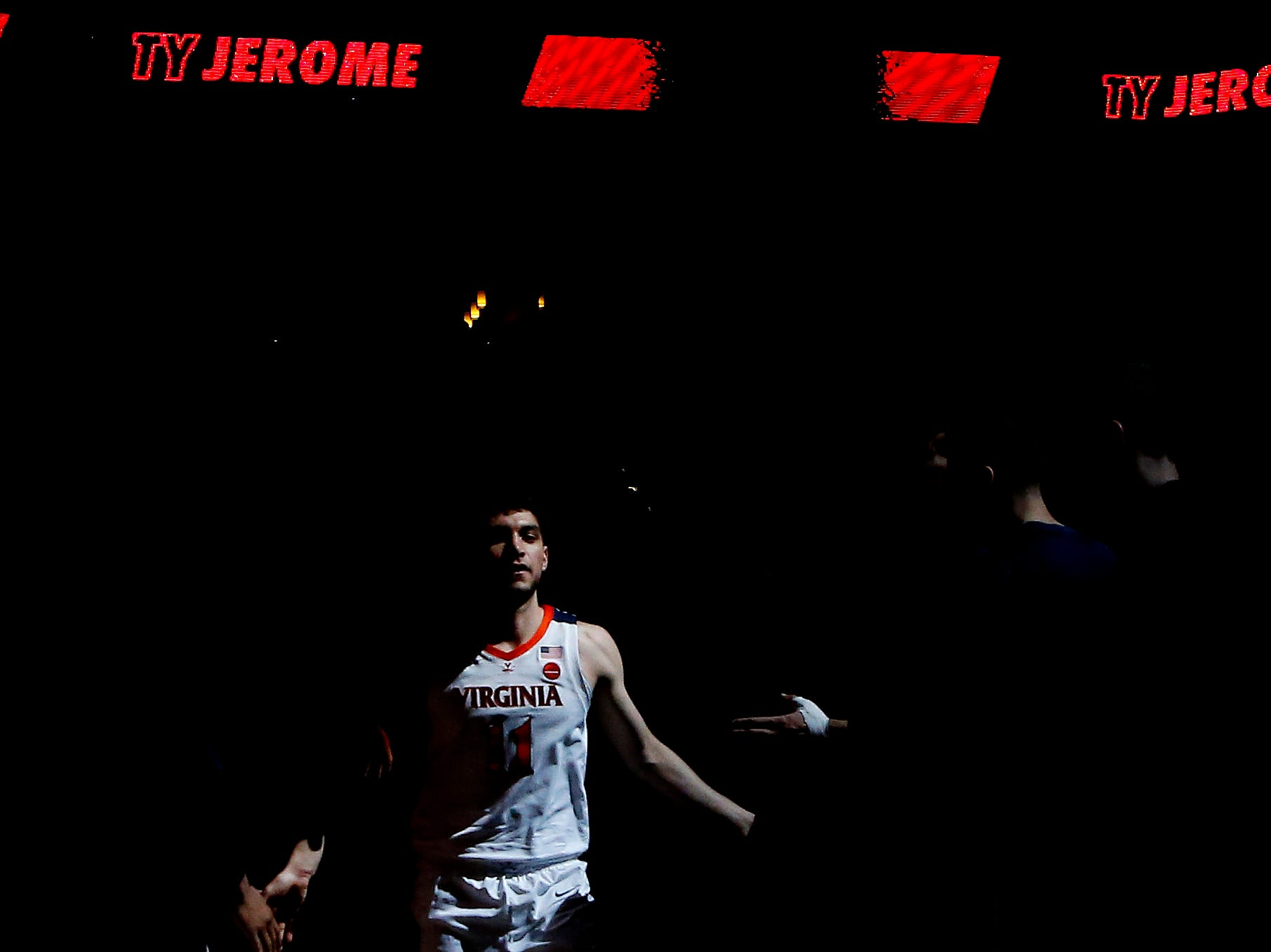 Jan 5, 2019; Charlottesville, VA, USA; Virginia Cavaliers guard Ty Jerome (11) is introduced prior to the Cavaliers' game against the Florida State Seminoles at John Paul Jones Arena. Mandatory Credit: Geoff Burke-USA TODAY Sports