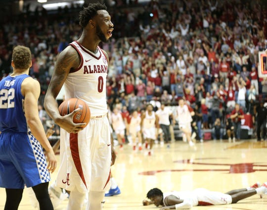Jan 5, 2019; Tuscaloosa, AL, USA; Alabama Crimson Tide forward Donta Hall (0) reacts after his team defeated the Kentucky Wildcats at Coleman Coliseum. Mandatory Credit: Marvin Gentry-USA TODAY Sports