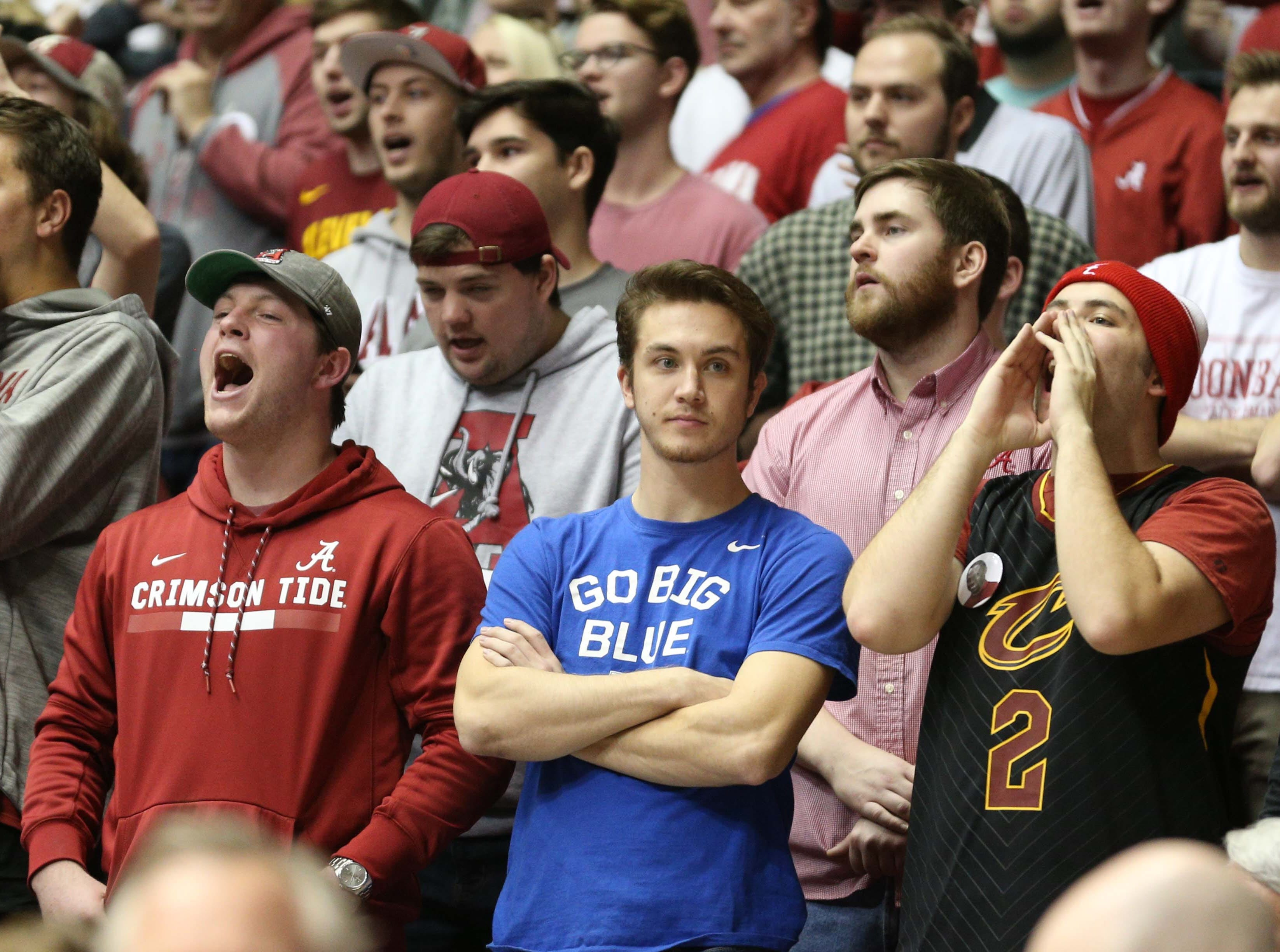 Jan 5, 2019; Tuscaloosa, AL, USA; A Lone Kentucky Wildcats fan shows his reaction to his teams play against the Alabama Crimson Tide during the second half at Coleman Coliseum. Mandatory Credit: Marvin Gentry-USA TODAY Sports