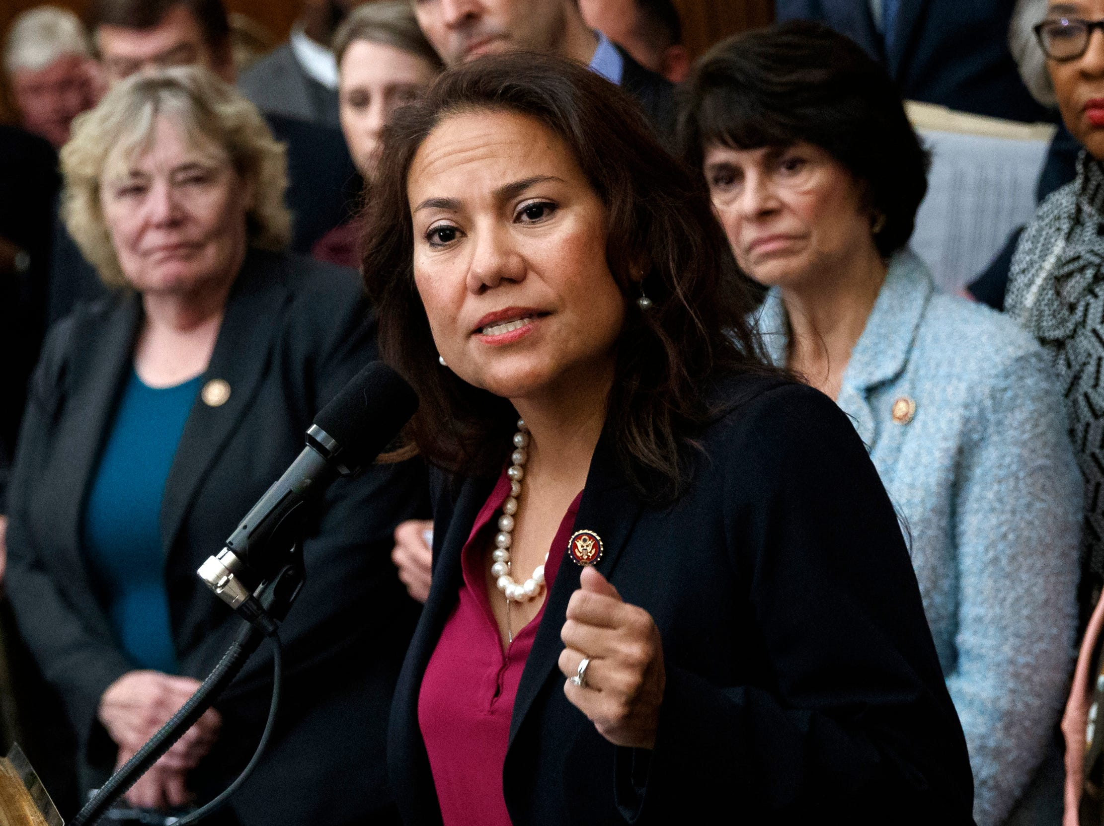 U.S. Rep. Veronica Escobar, D-El Paso, speaks during a news conference on Capitol Hill in Washington on Friday, Jan. 4, 2019, about the introduction of H.R. 1 — For the People Act.
