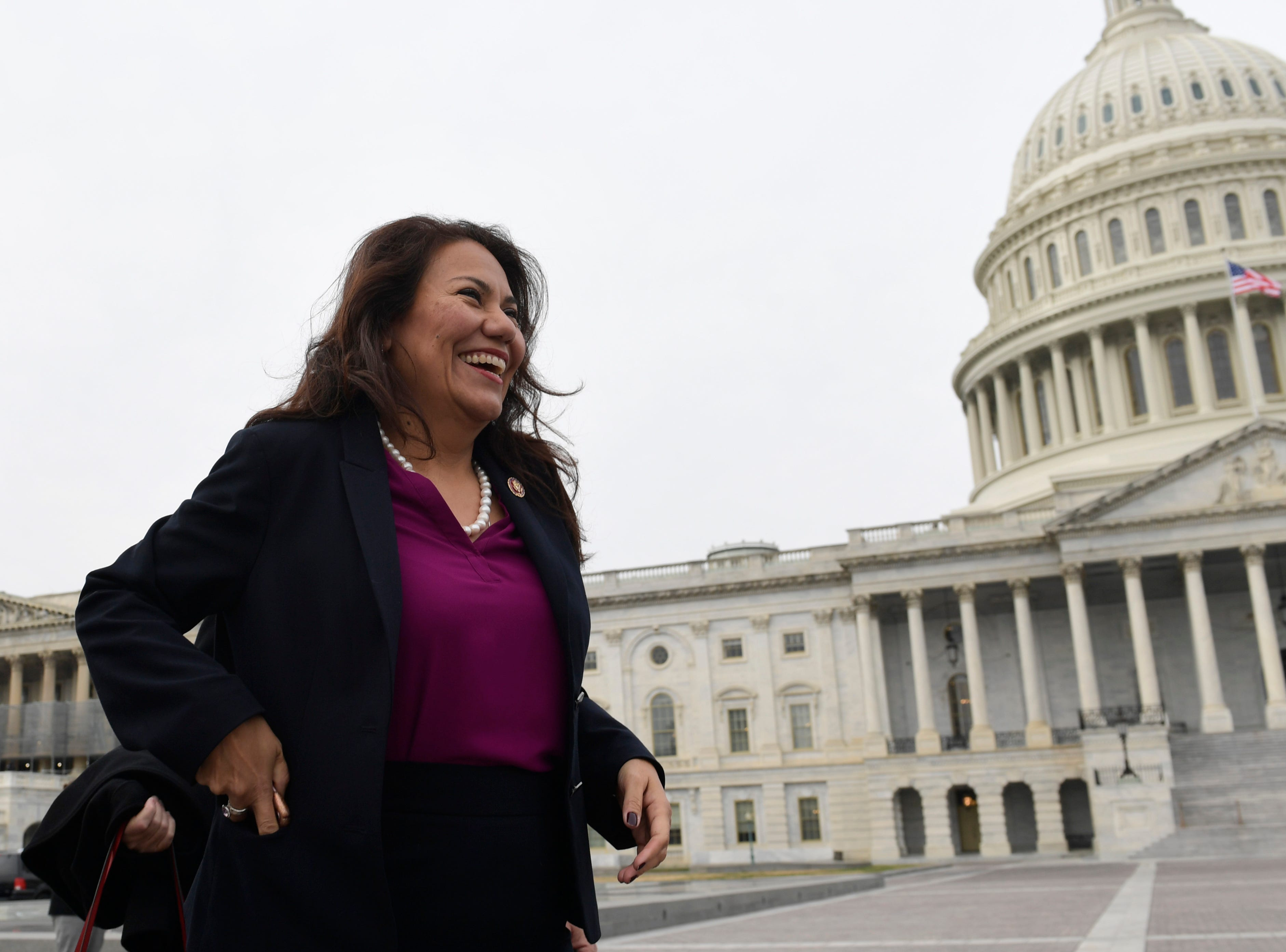 U.S. Rep. Veronica Escobar, D-El Paso, arrives for a group photo with the women of the 116th Congress on Capitol Hill in Washington on Friday, Jan. 4, 2019.
