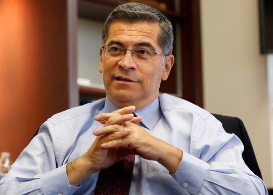 In this Oct. 10, 2018, photo, California Attorney General Xavier Becerra discusses various issues during an interview with The Associated Press in Sacramento.