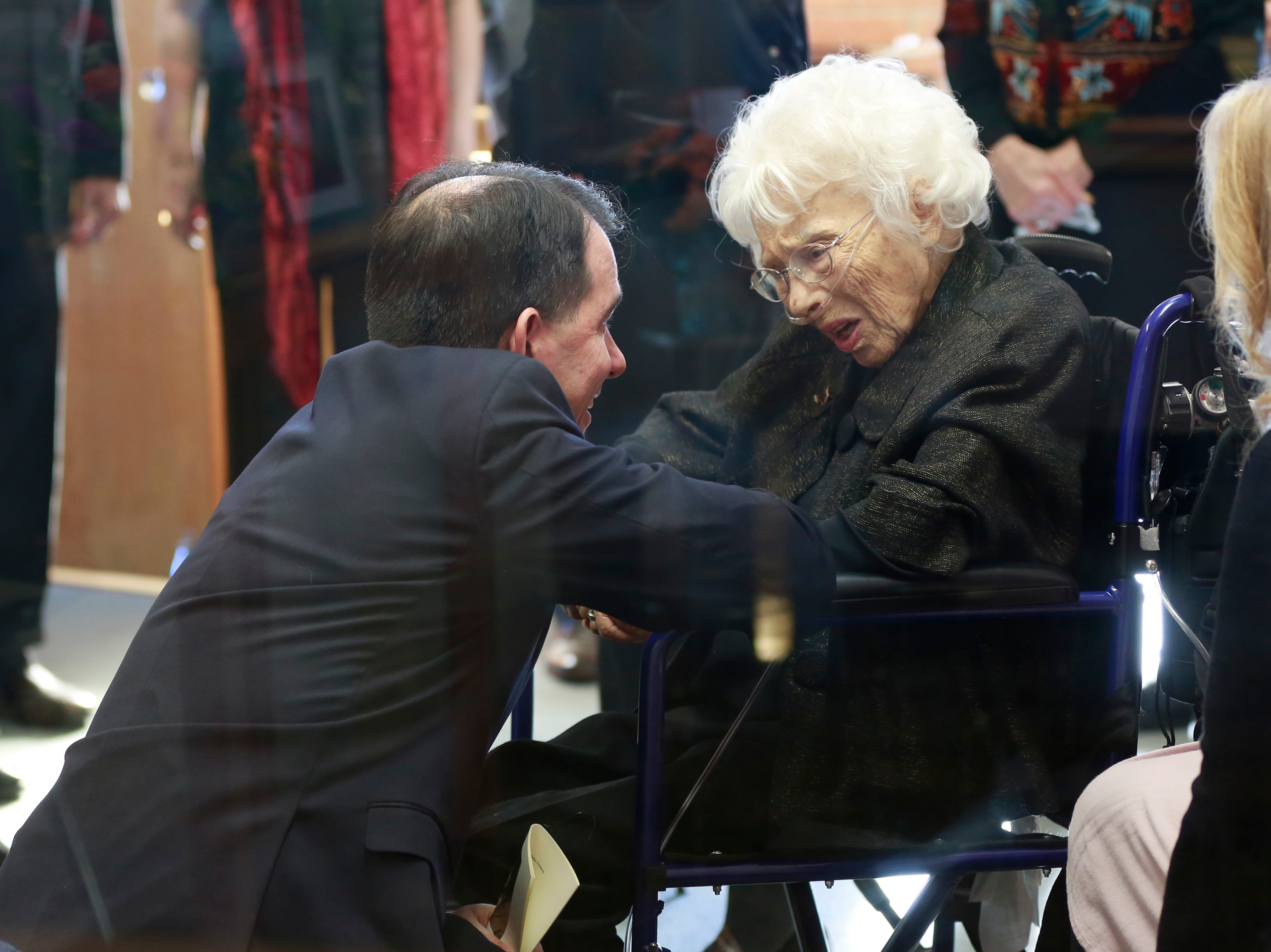 Governor Scott Walker comforts former Sen. Walter Chilsen's wife Rose during Sen. Walter Chilsen's funeral service Friday, Jan. 04, 2019, at Holy Name of Jesus Parish in Wausau, Wisc. T'xer Zhon Kha/USA TODAY NETWORK-Wisconsin
