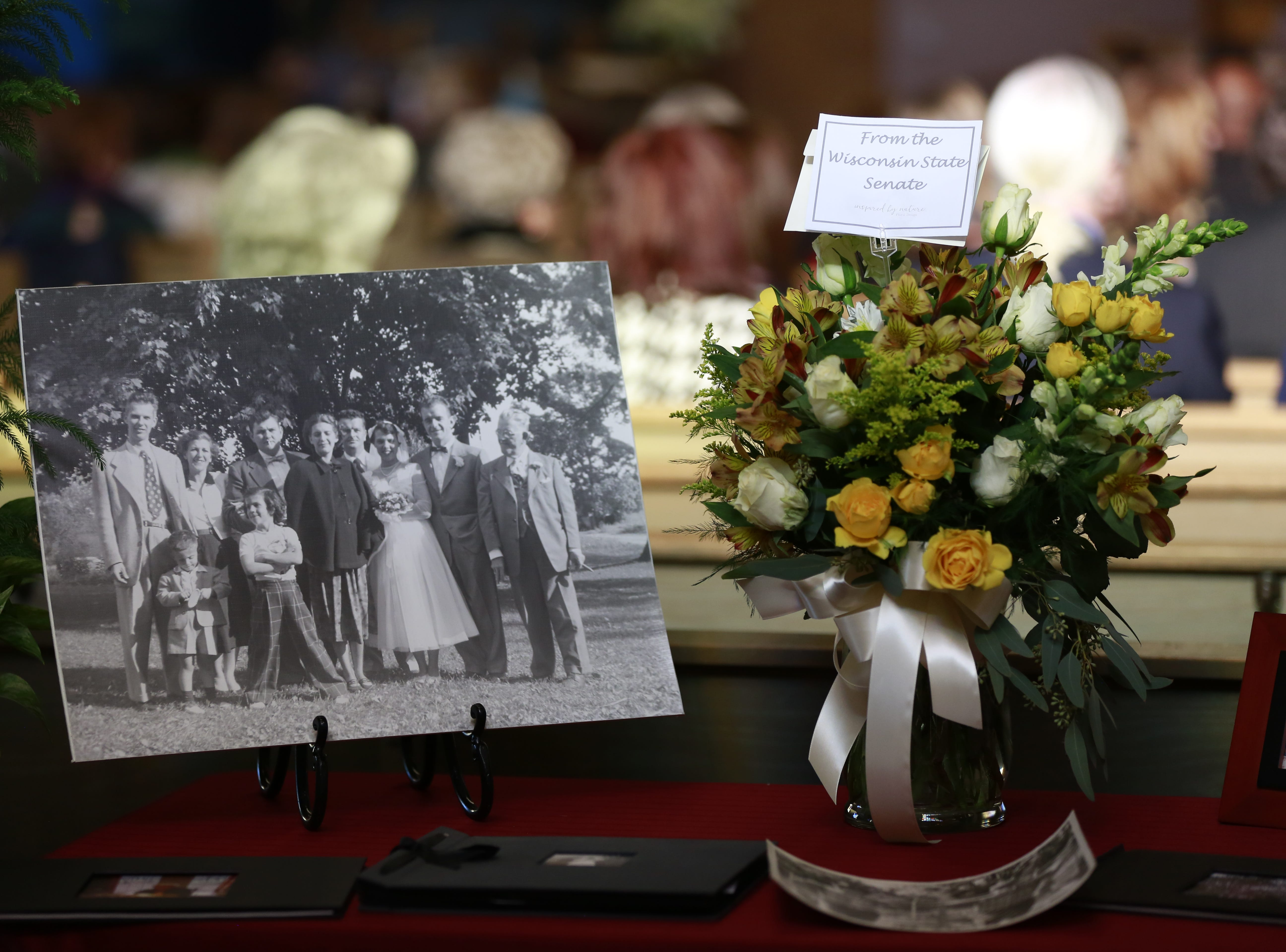A family photo of former Sen. Walter Chilsen displays during his funeral service Friday, Jan. 04, 2019, at Holy Name of Jesus Parish in Wausau, Wisc. T'xer Zhon Kha/USA TODAY NETWORK-Wisconsin