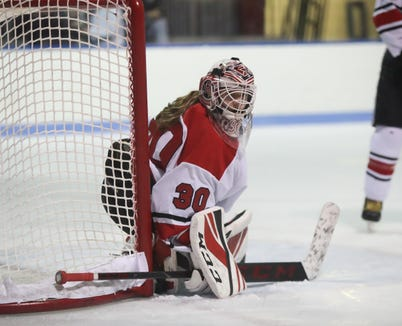 Rye goaltender Annabelle Thomas (30) watches the puck go behing the goal line during ice hockey action against North Rockland at Playland Ice Casino in Rye on Friday, January 4, 2019.