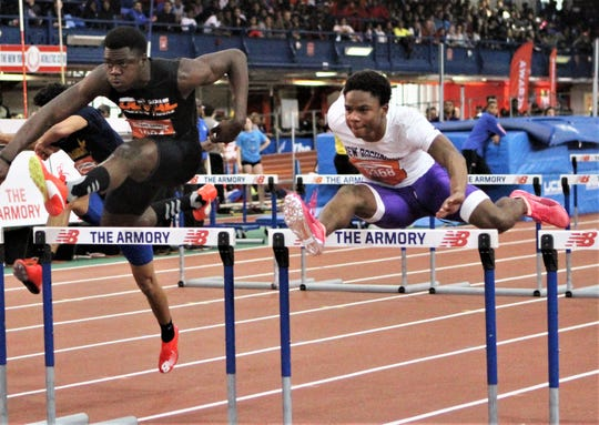 New Rochelle's Jessie Parson (r) goes over hurdle en route to second-place 2019 Hispanic Games finish.